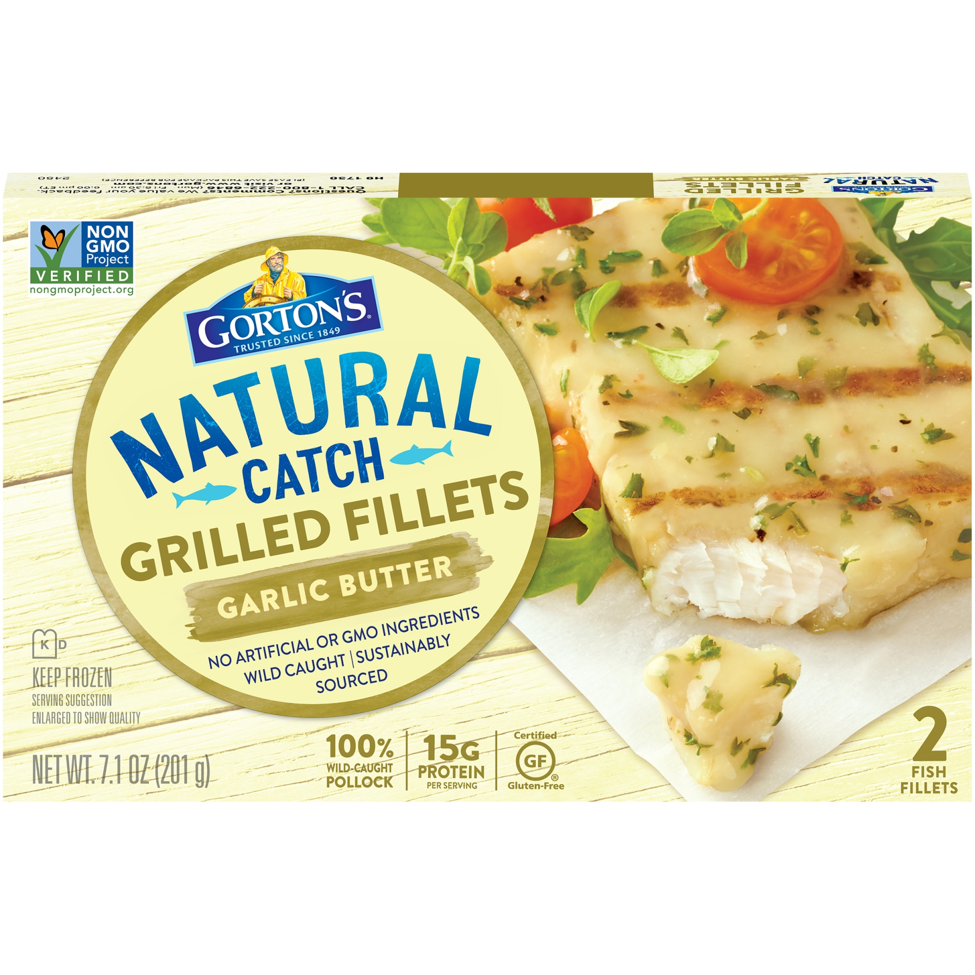 slide 1 of 8, Gorton's Grilled Garlic Butter Fish Fillets,