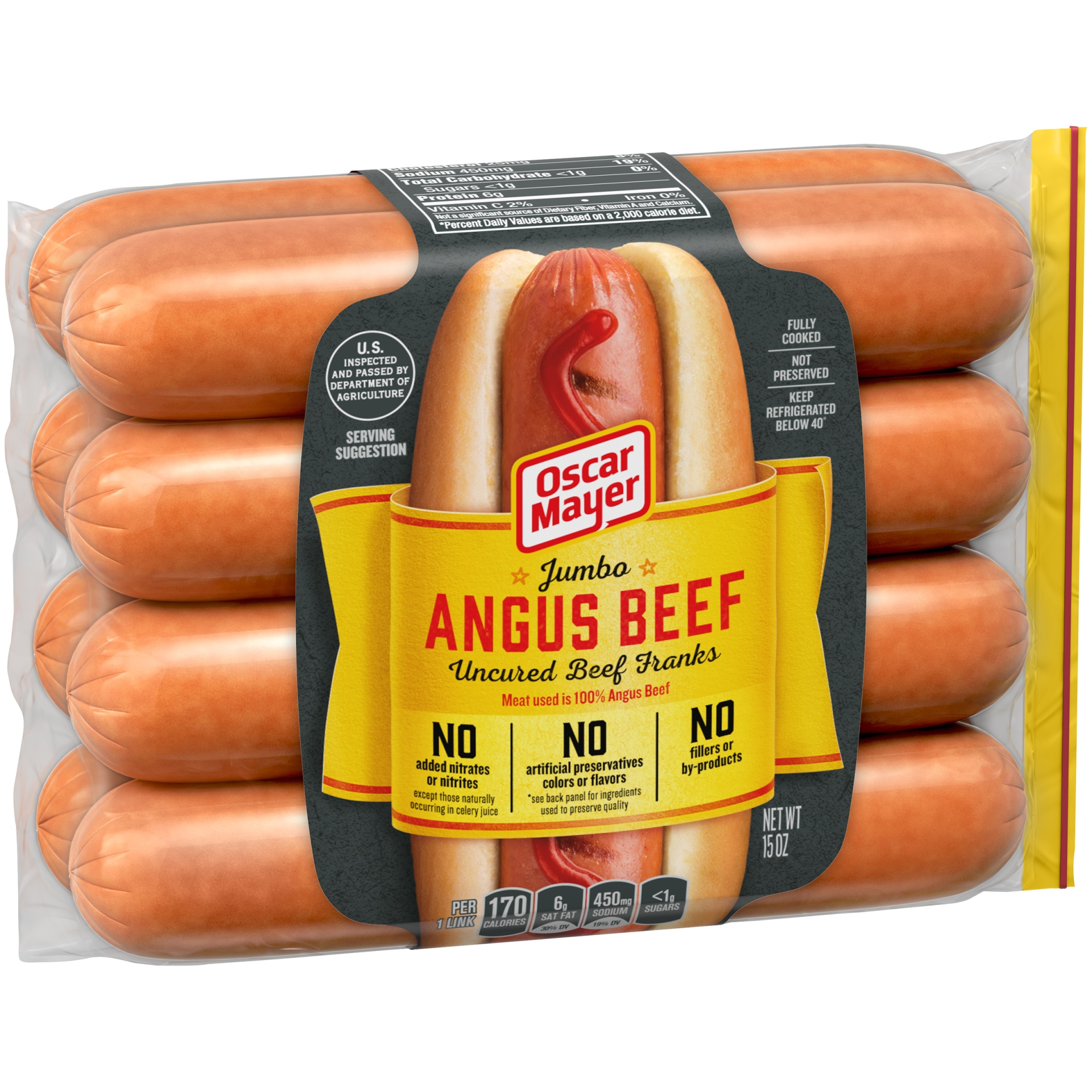 slide 9 of 13, Oscar Mayer Jumbo Angus Beef Uncured Franks 15 oz,