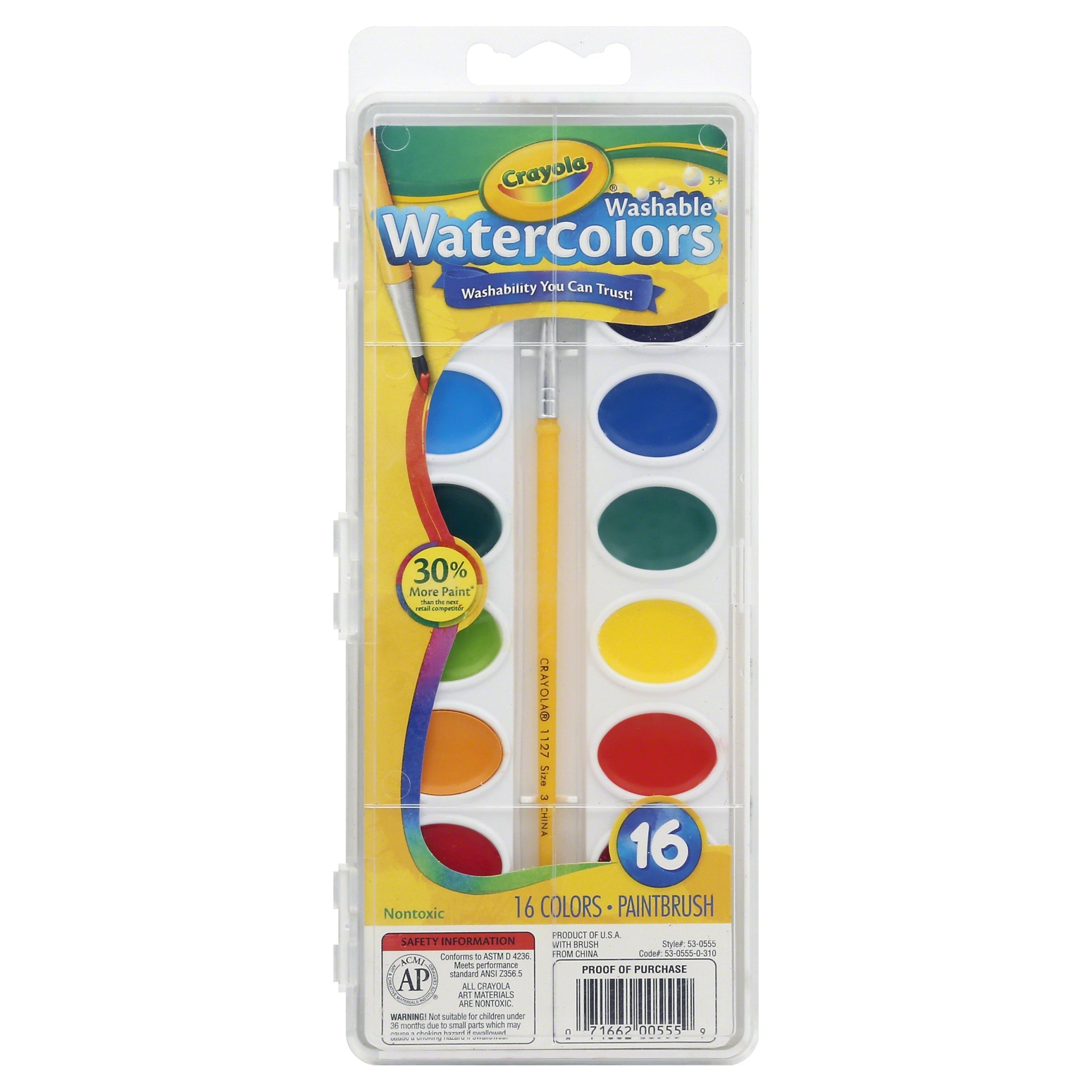 slide 1 of 1, Crayola Watercolor Paints with Brush Washable,