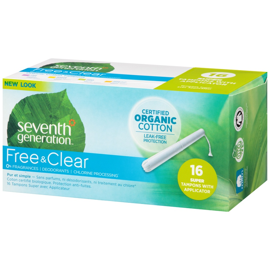 slide 3 of 6, Seventh Generation Free Clear Super Tampons With Applicator,
