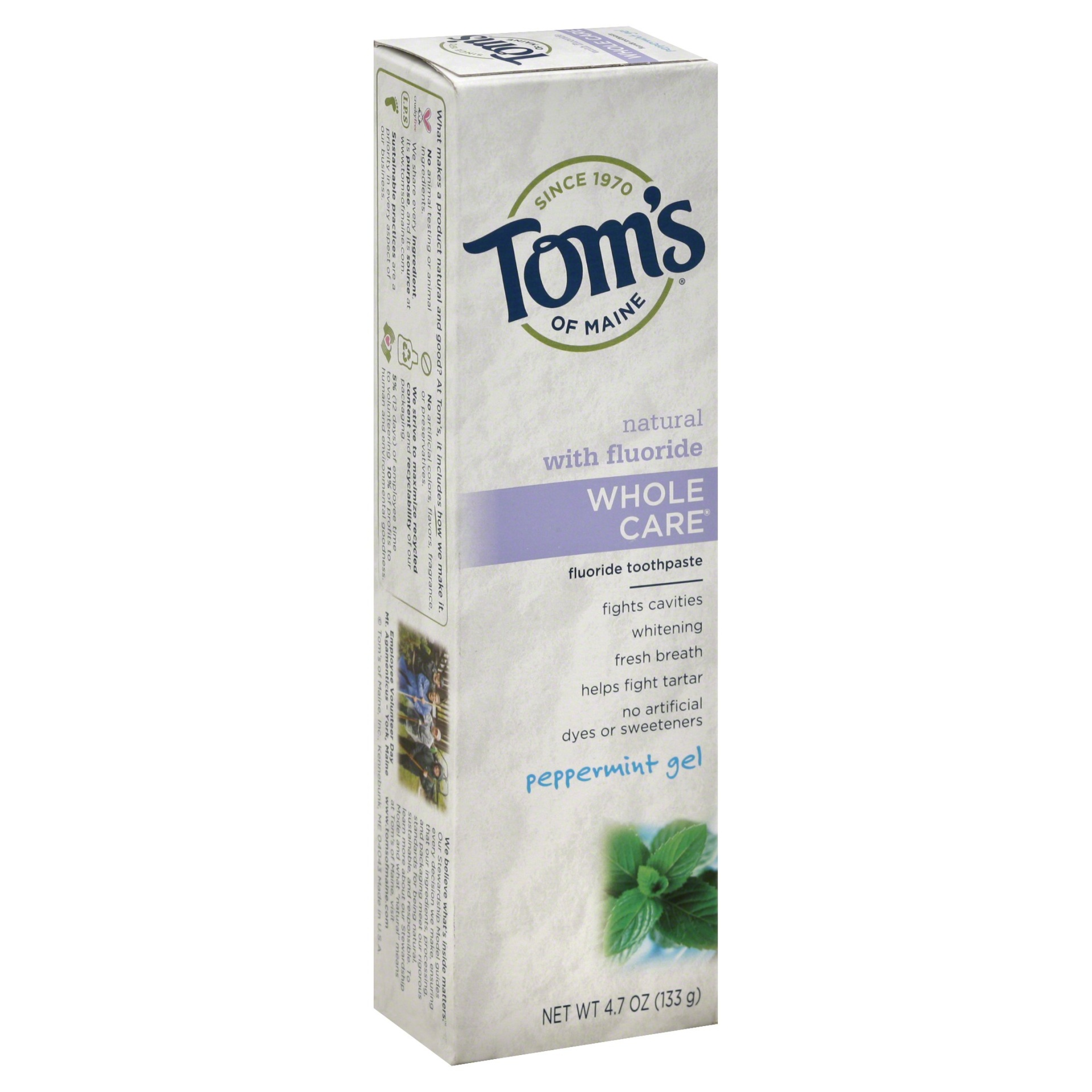 slide 1 of 1, Tom's of Maine Toothpaste Whole Care Peppermint Gel,