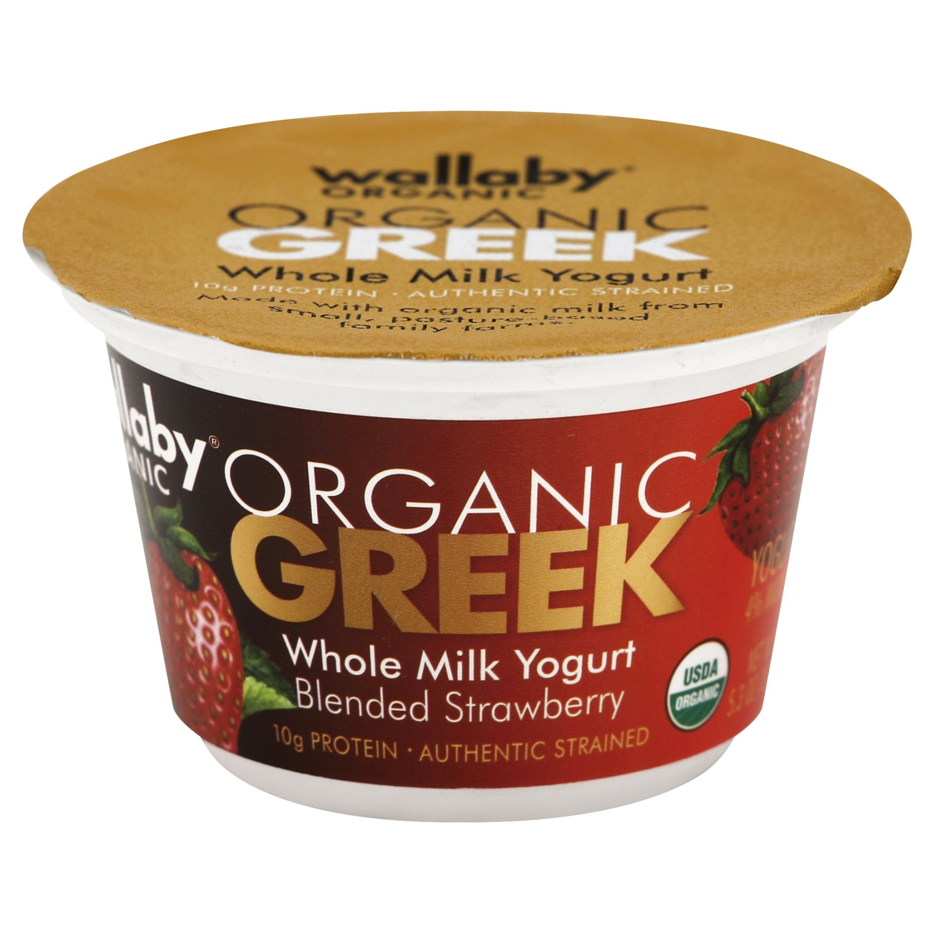 slide 1 of 5, Wallaby Organic Greek Blended Strawberry Whole Milk Yogurt,
