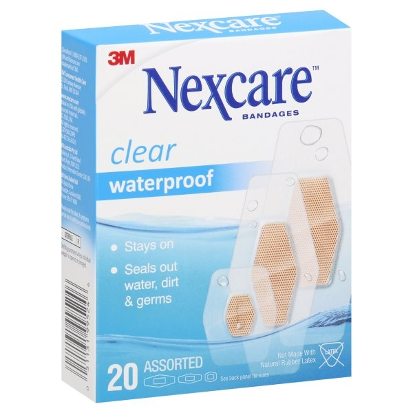 slide 1 of 10, Nexcare Waterproof Bandages, Clear, Assorted,