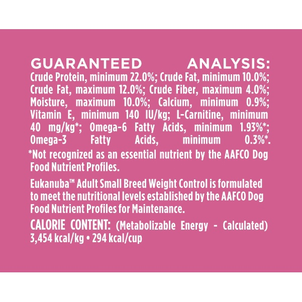slide 3 of 5, Eukanuba Small Breed Weight Control Adult Dog Food,