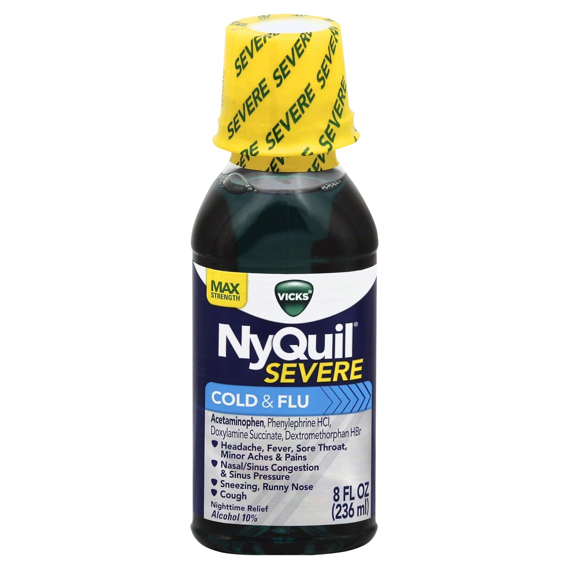 slide 1 of 1, Vicks NyQuil Severe Cold & Flu Nighttime Relief Liquid,