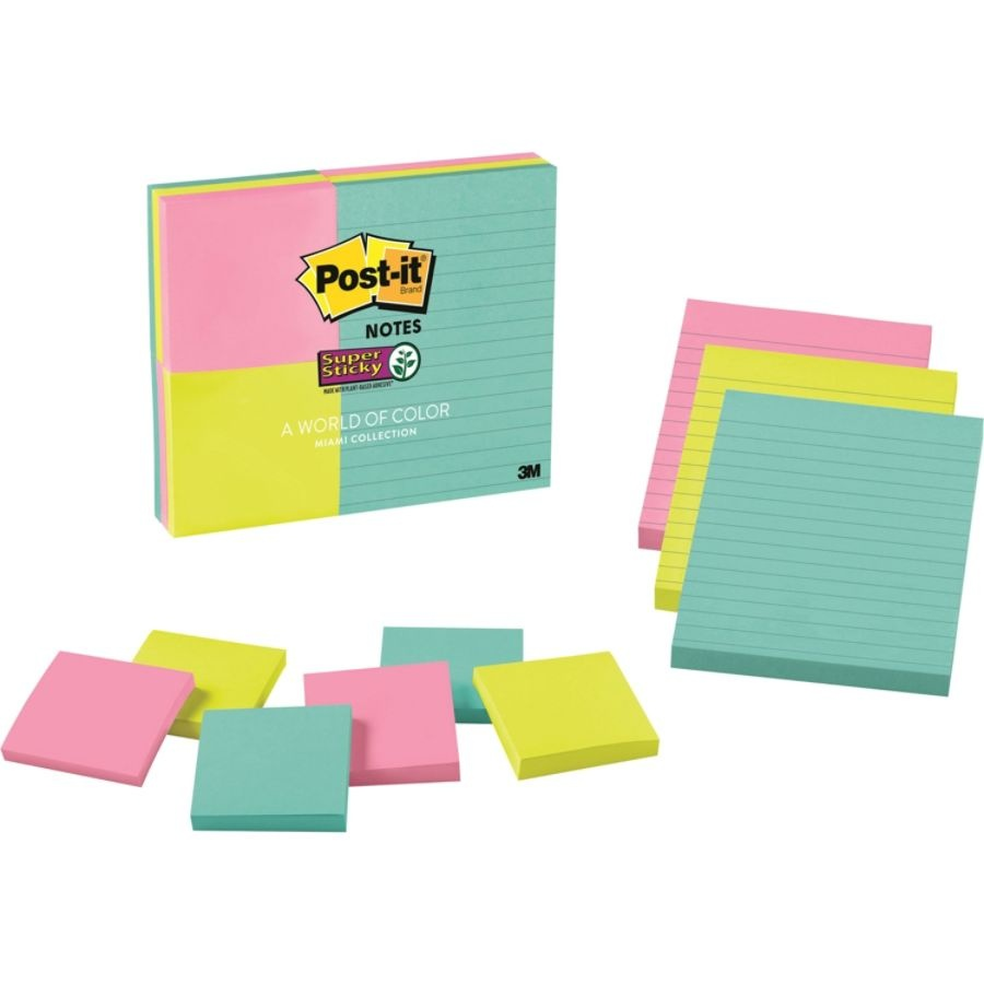 slide 2 of 2, Post-it Post-It Super Sticky Notes, Assorted Sizes, Miami,,