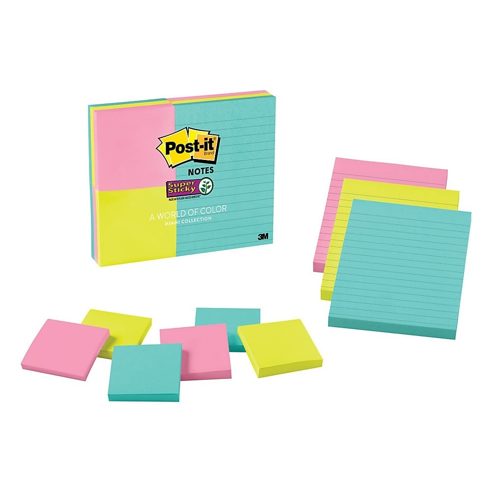 slide 1 of 2, Post-it Post-It Super Sticky Notes, Assorted Sizes, Miami,,
