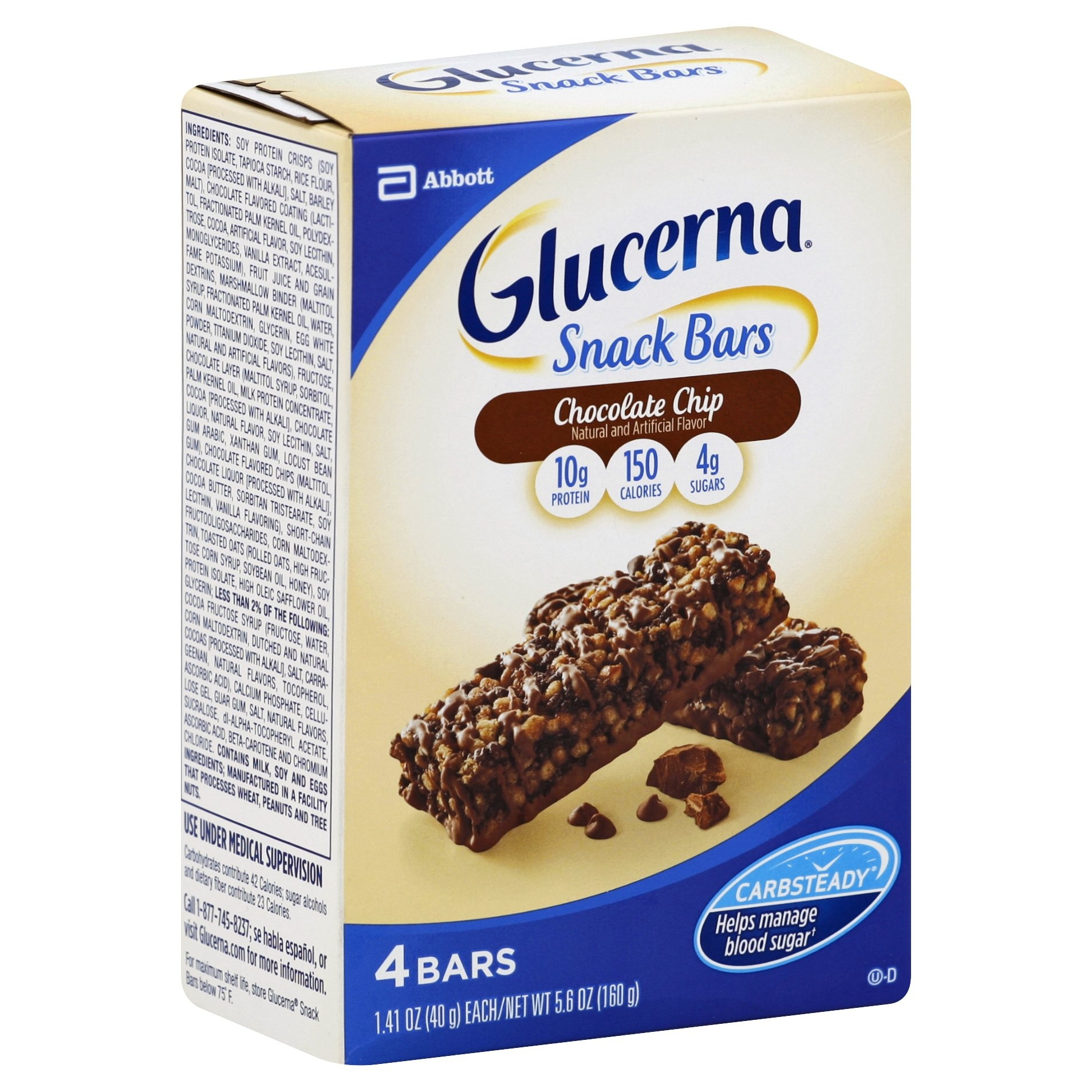 slide 1 of 5, Glucerna Hunger Smart Chocolate Chip Crisp Snack Bars,