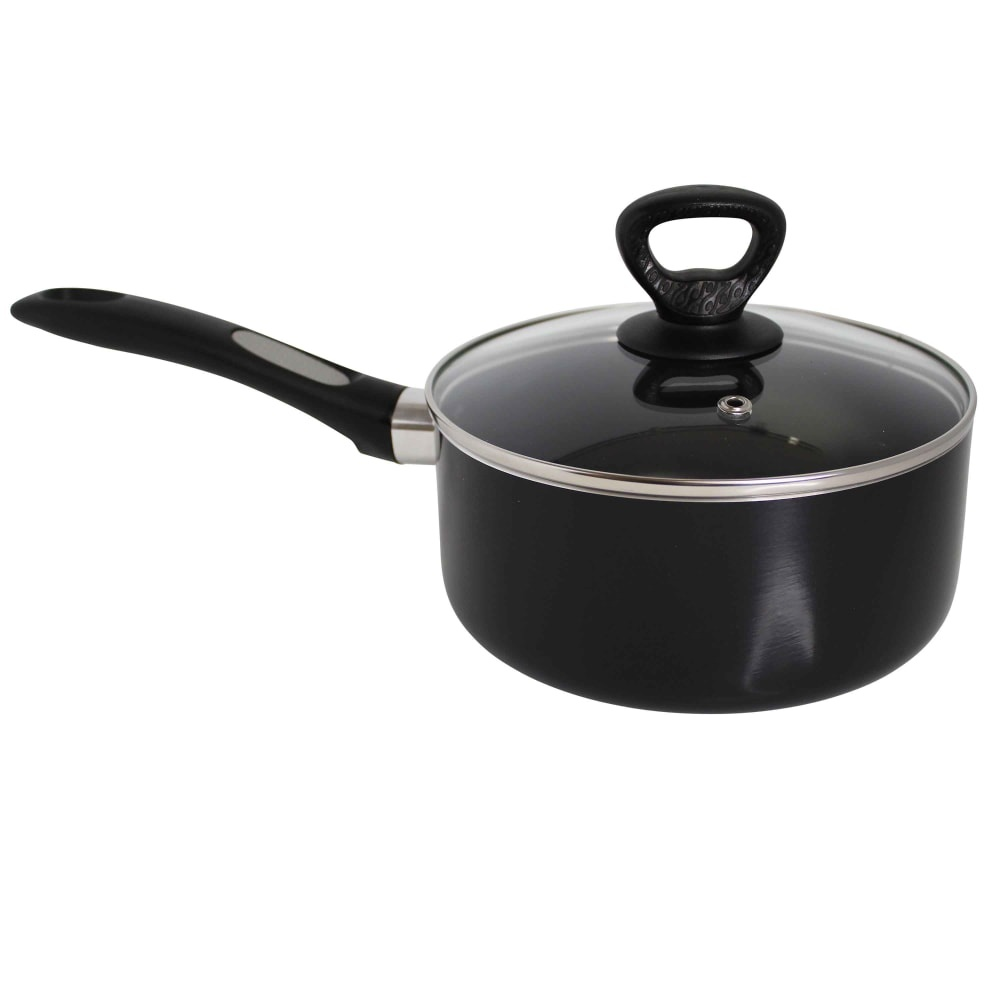 slide 1 of 1, Mirro Get A Grip Nonstick Covered Saucepan Black,