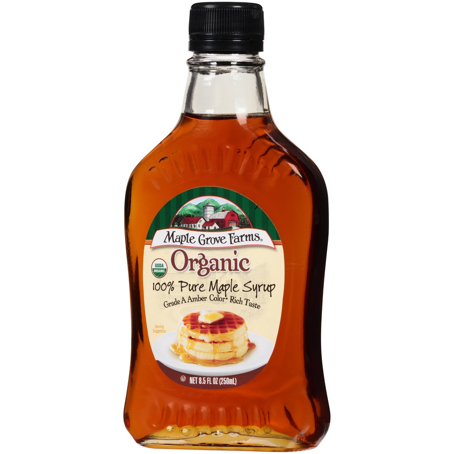 slide 3 of 8, Maple Grove Farms Organic Dark Amber Maple Syrup,