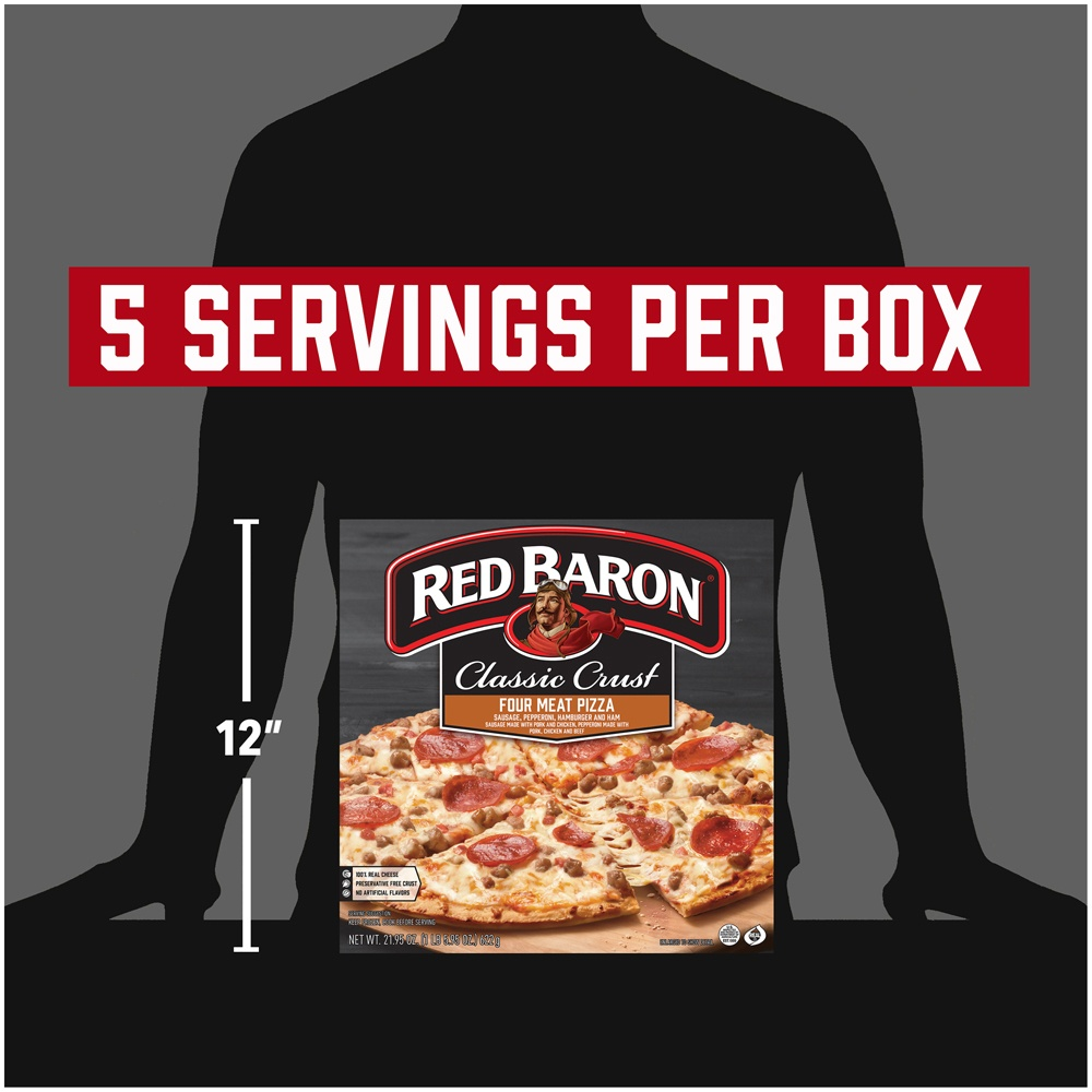 slide 7 of 9, Red Baron Classic Crust Four Meat Pizza,