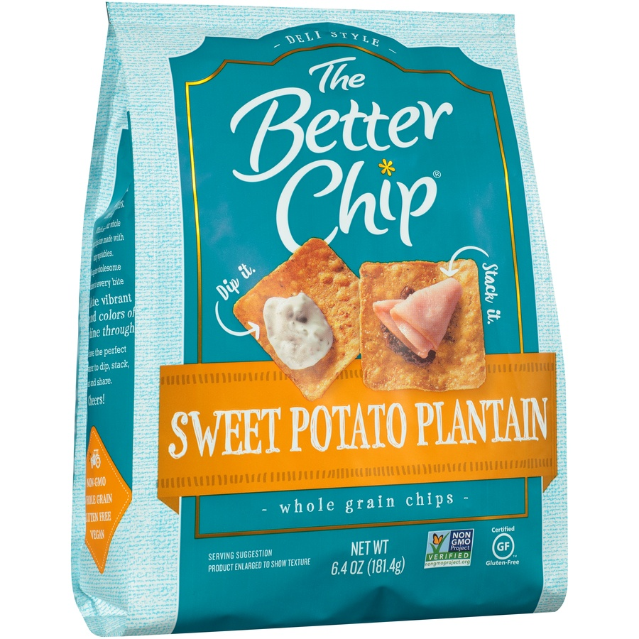 slide 2 of 8, The Better Chip Sweet Potato Plantain Whole Grain Chips,
