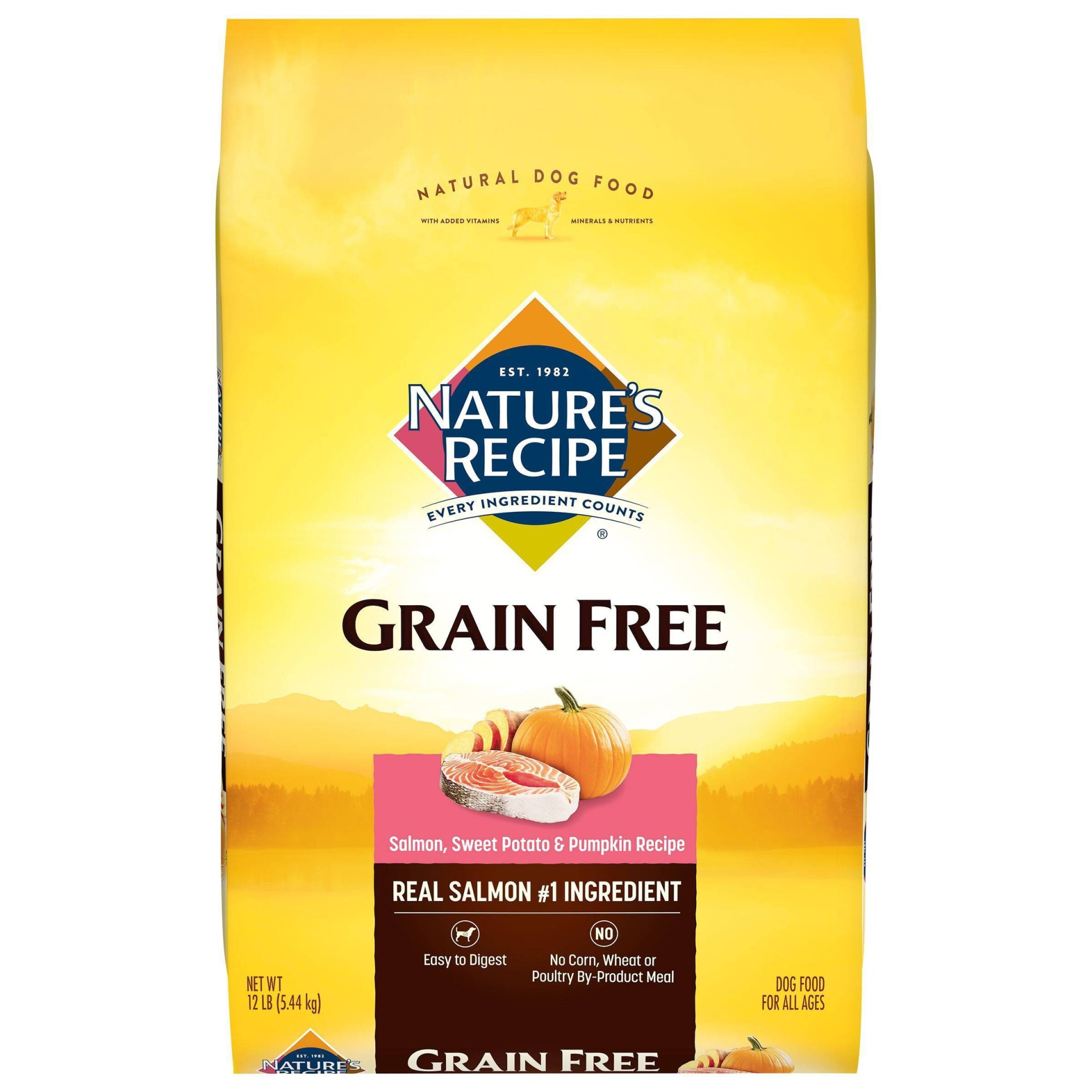 slide 1 of 3, Natures Recipe Grain Free Easy to Digest Salmon Sweet Potato Pumpkin Dry Dog Food,