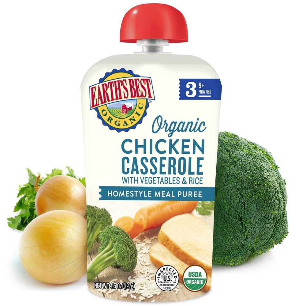 slide 3 of 3, Earth's Best Organic Chicken Casserole with Vegetables and Rice Baby Food Pouch,