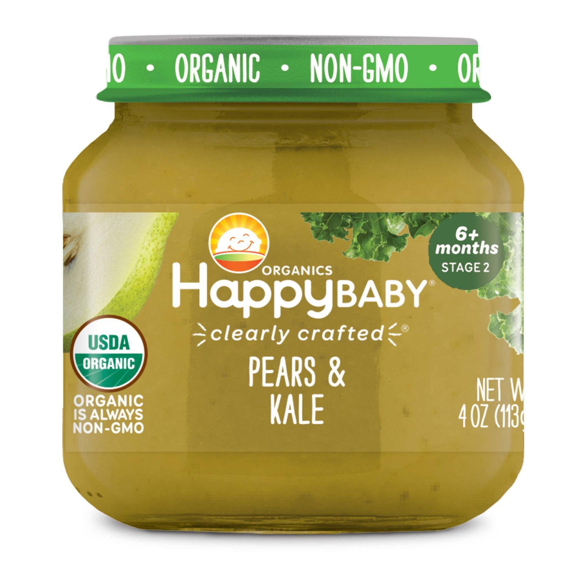 slide 1 of 3, Happy Baby Stage 2 Clearly Crafted Pear & Kale Jar,