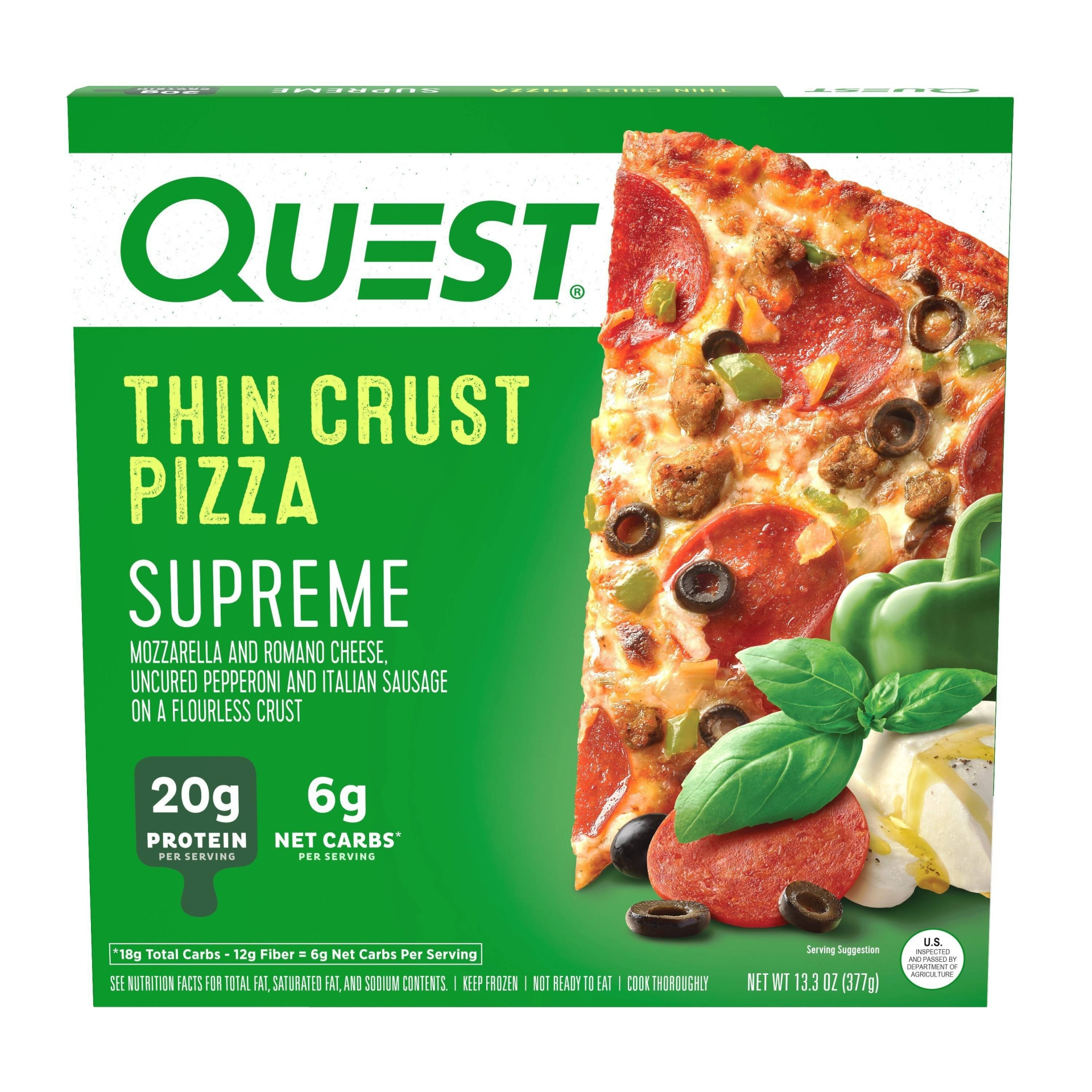 slide 1 of 2, Quest Nutrition Quest Supreme Thin Crust Pizza,