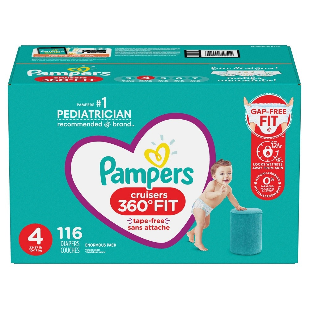 slide 8 of 10, Pampers Cruisers 360 Disposable Diapers Enormous Pack - Size 4,