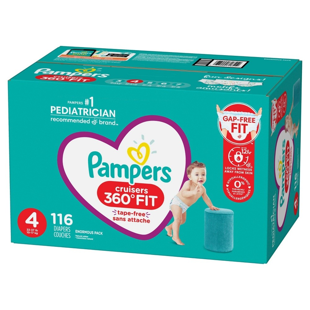 slide 9 of 10, Pampers Cruisers 360 Disposable Diapers Enormous Pack - Size 4,