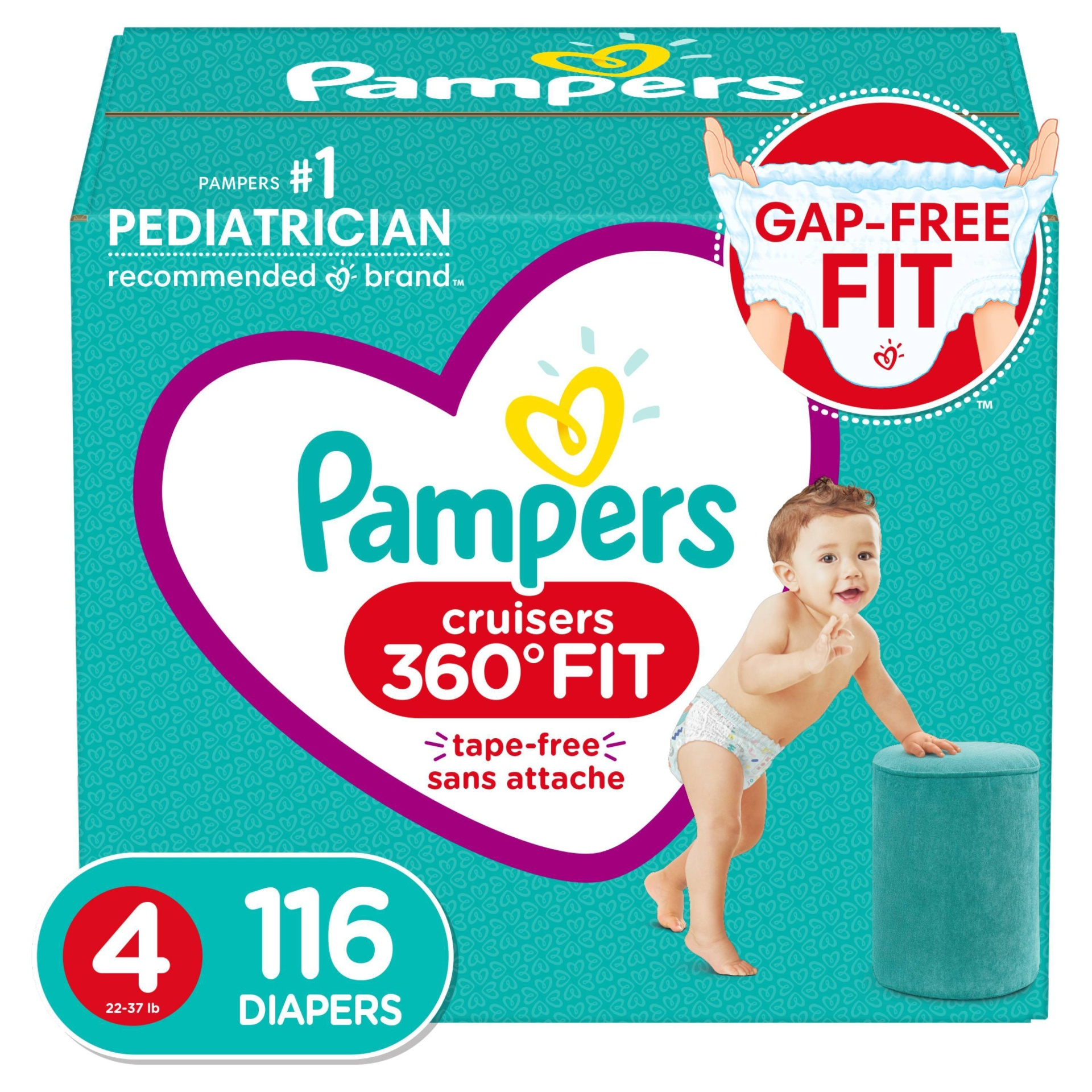slide 1 of 10, Pampers Cruisers 360 Disposable Diapers Enormous Pack - Size 4,