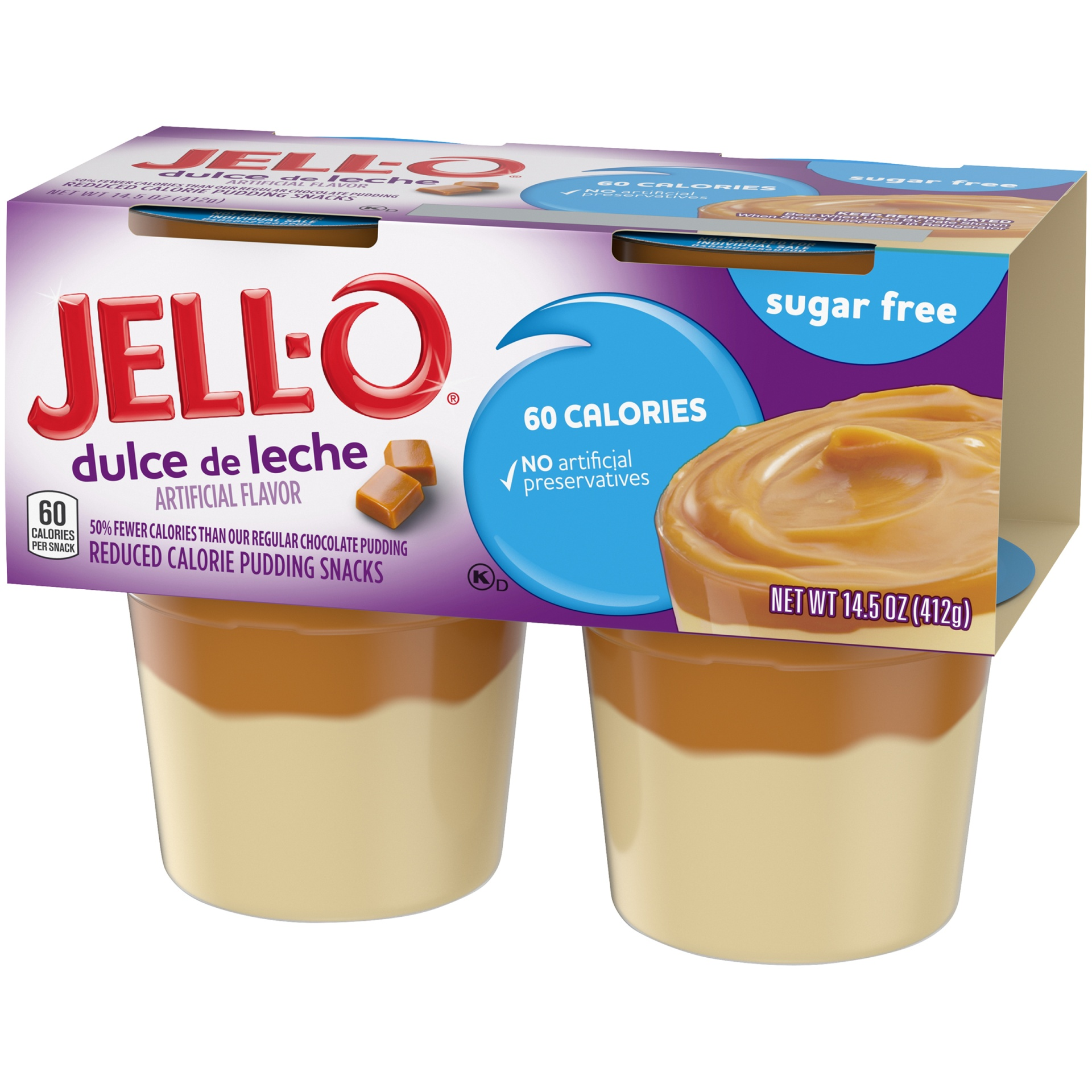 slide 3 of 6, Jell-O Sugar Free Ready to Eat Dulce de Leche Pudding, 4 ct - 14.5 oz Package,