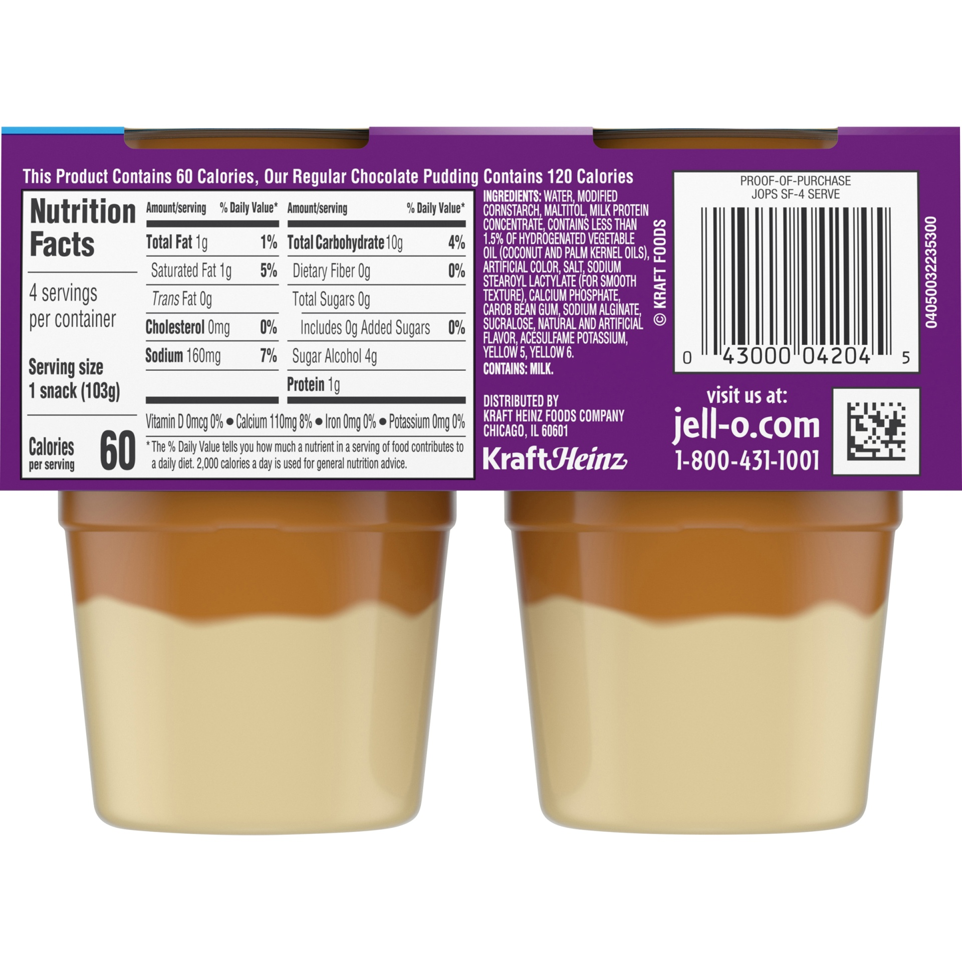 slide 4 of 6, Jell-O Sugar Free Ready to Eat Dulce de Leche Pudding, 4 ct - 14.5 oz Package,