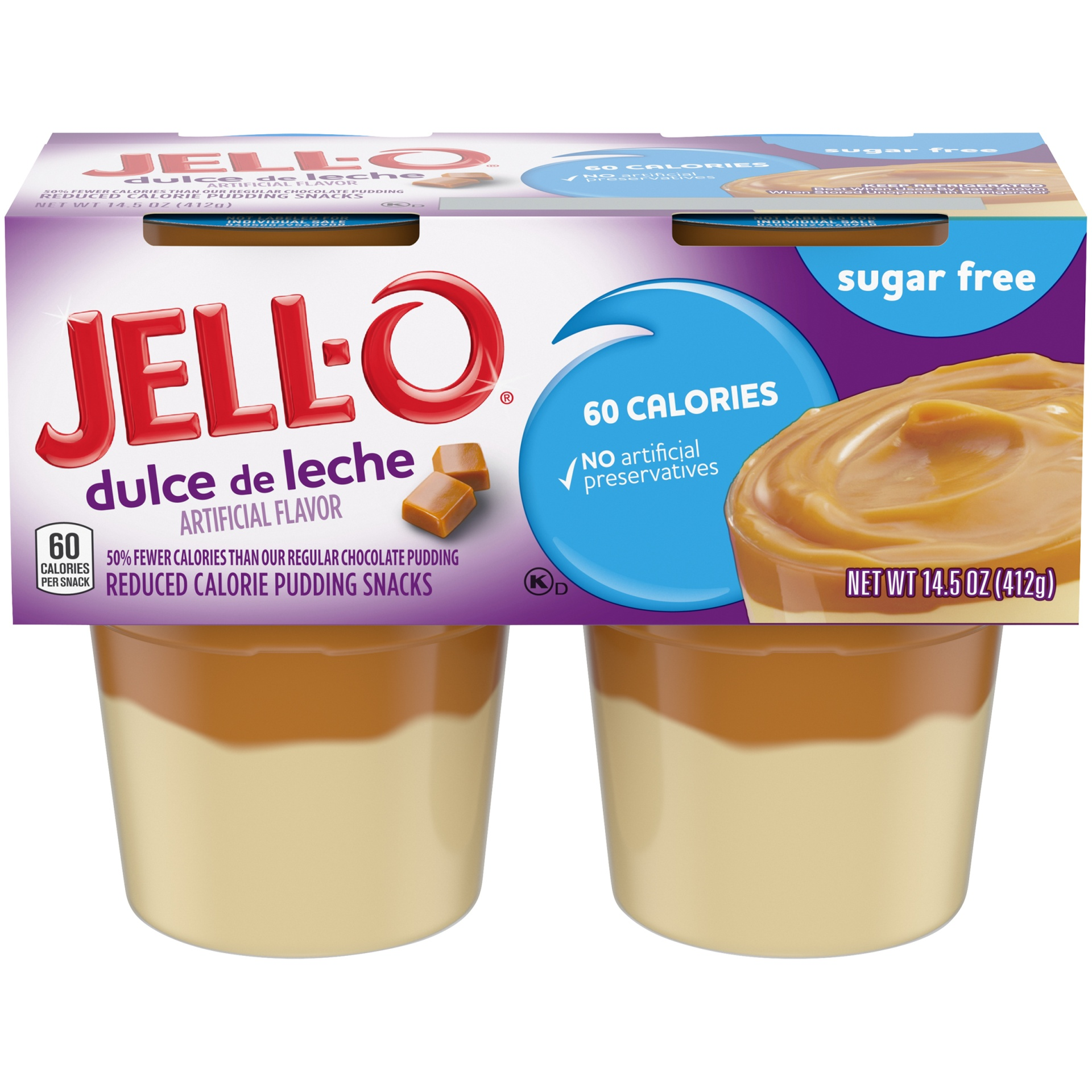 slide 1 of 6, Jell-O Sugar Free Ready to Eat Dulce de Leche Pudding, 4 ct - 14.5 oz Package,