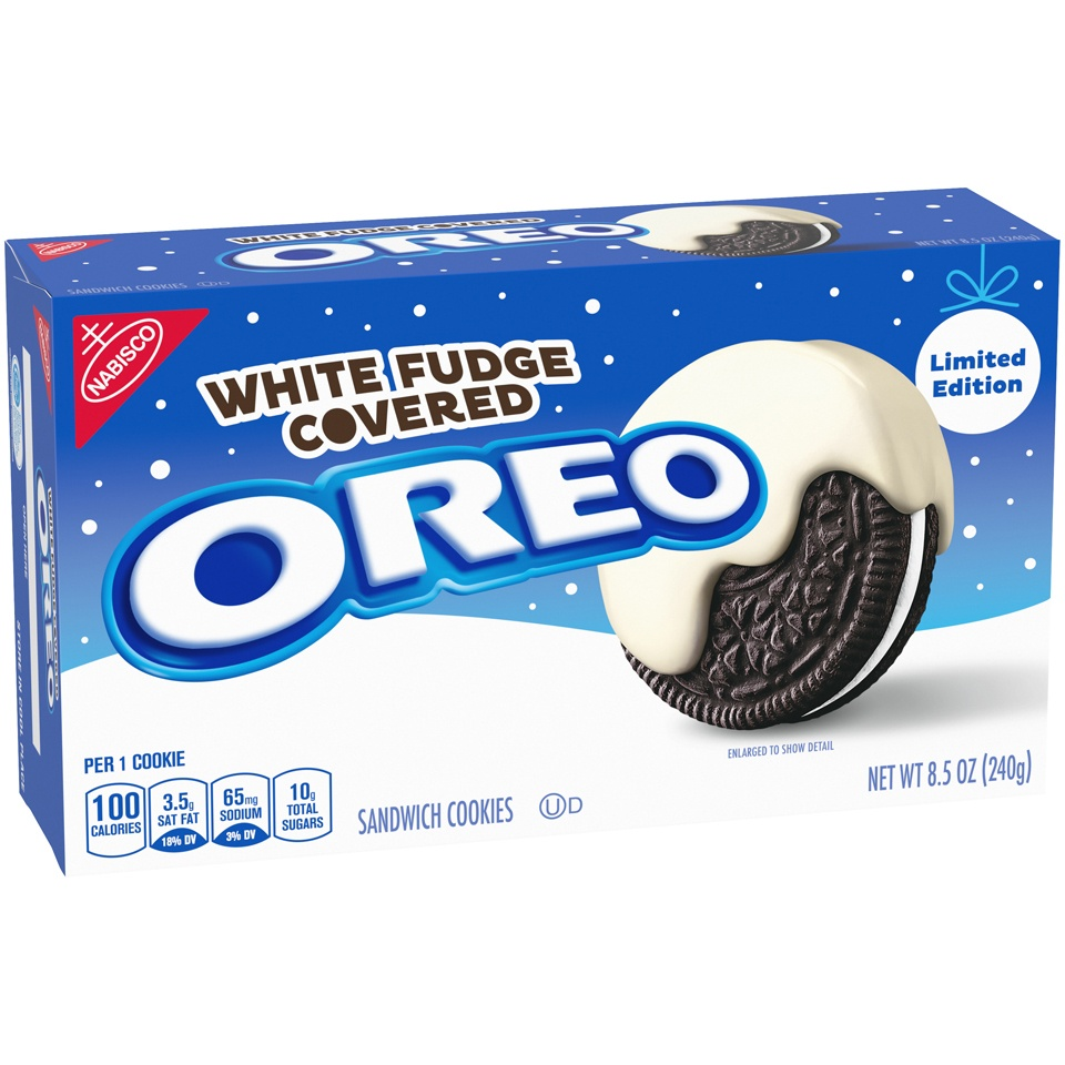 slide 3 of 7, Oreo White Fudge Covered Chocolate Sandwich Cookies,