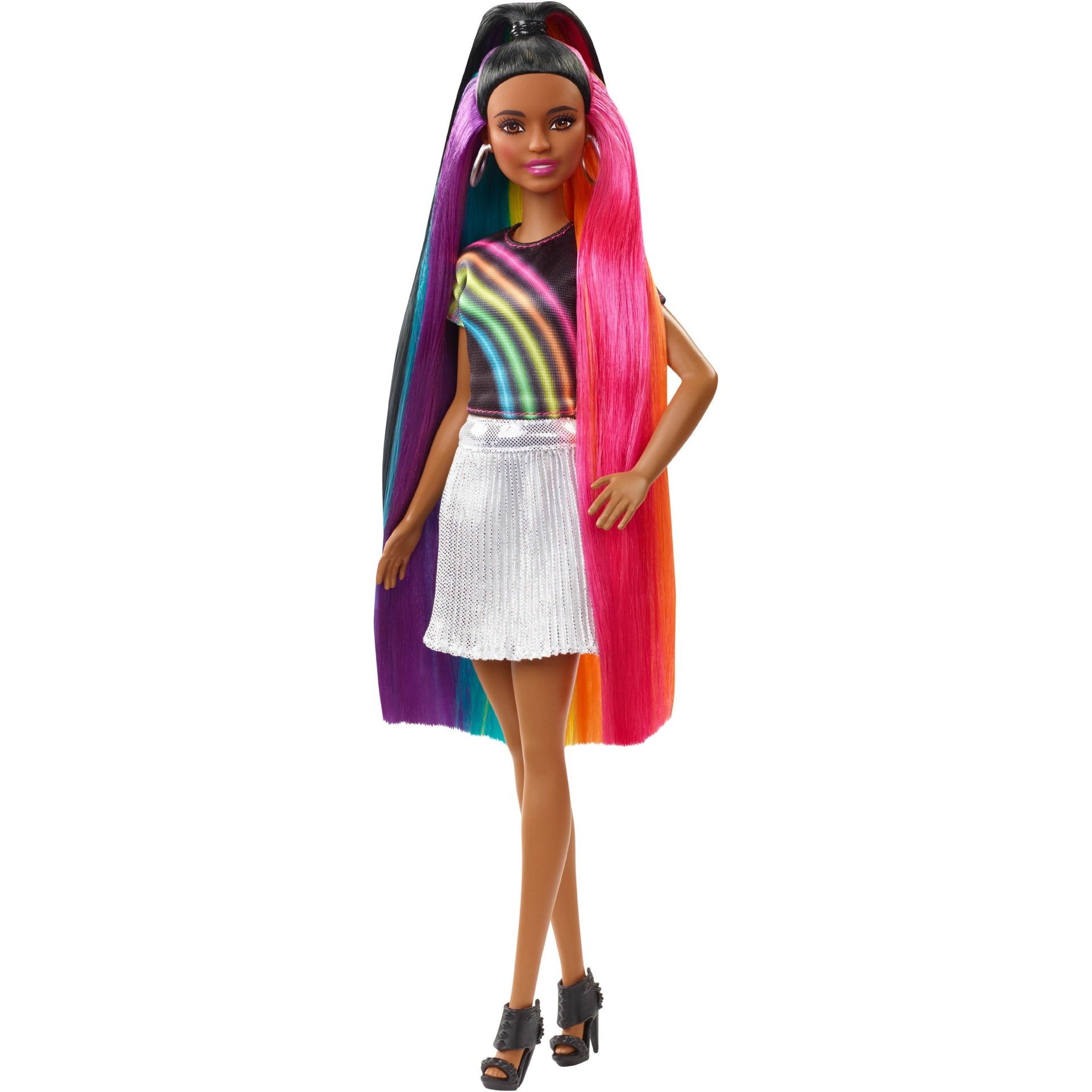 slide 1 of 16, Barbie Rainbow Sparkle Hair Nikki Doll,