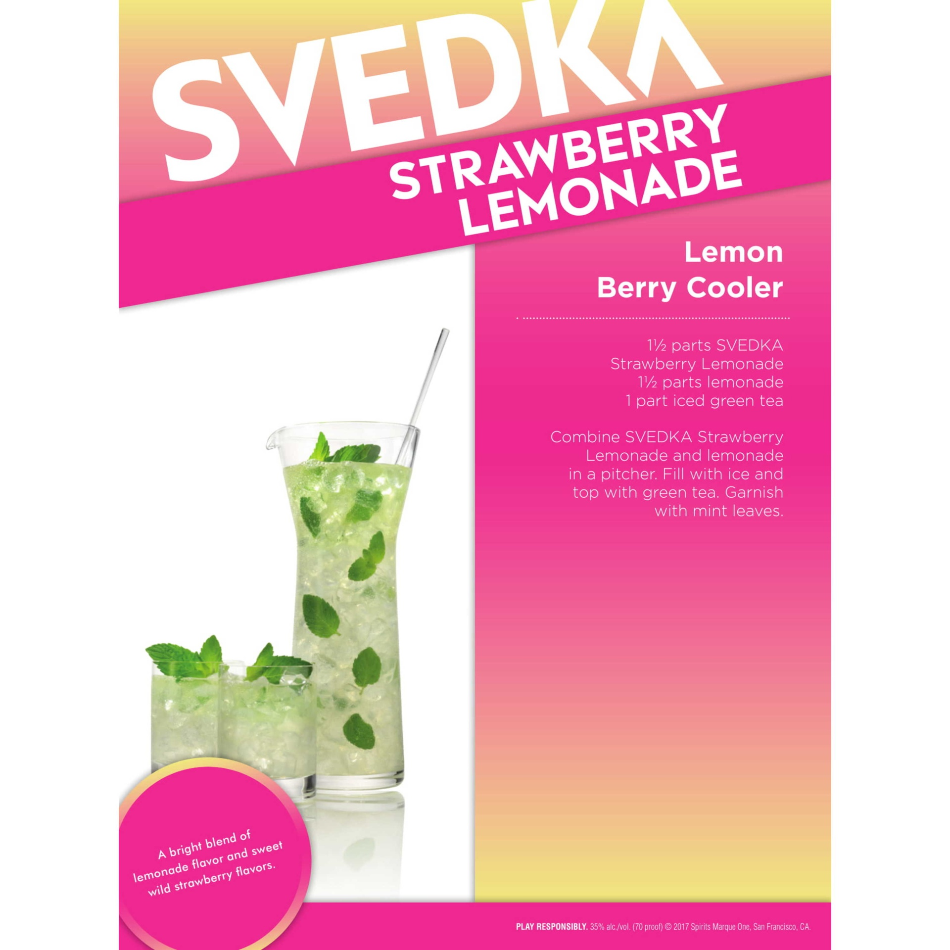 slide 3 of 4, SVEDKA Strawberry Lemonade Vodka,