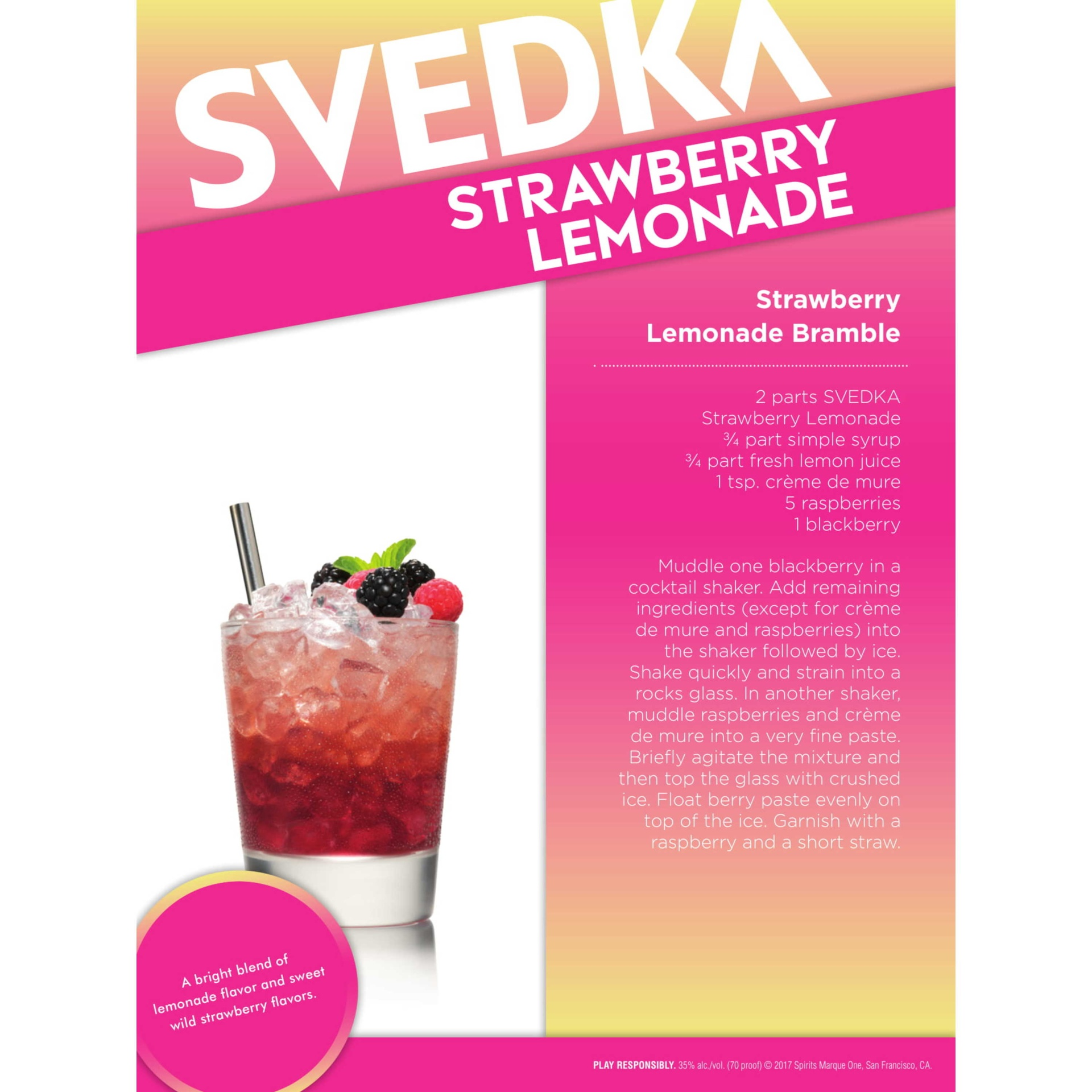 slide 4 of 4, SVEDKA Strawberry Lemonade Vodka,