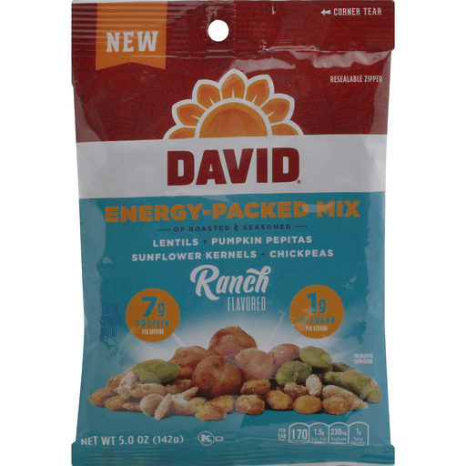 slide 1 of 1, DAVID Energy-Packed Mix, Of Roasted & Seasoned, Ranch Flavored,