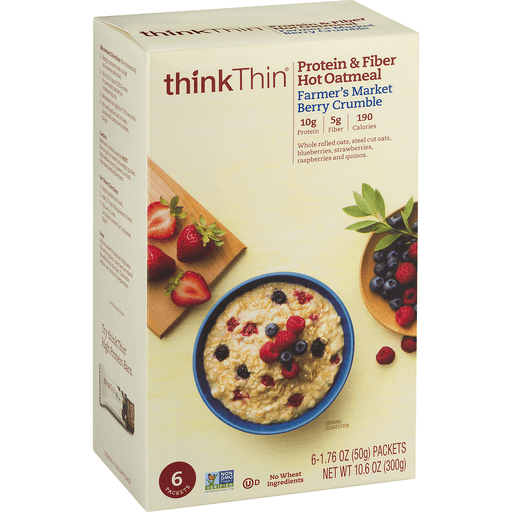 slide 2 of 9, thinkThin Protein & Fiber Hot Oatmeal Farmer's Market Berry Crumble,
