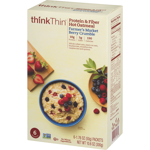 slide 3 of 9, thinkThin Protein & Fiber Hot Oatmeal Farmer's Market Berry Crumble,