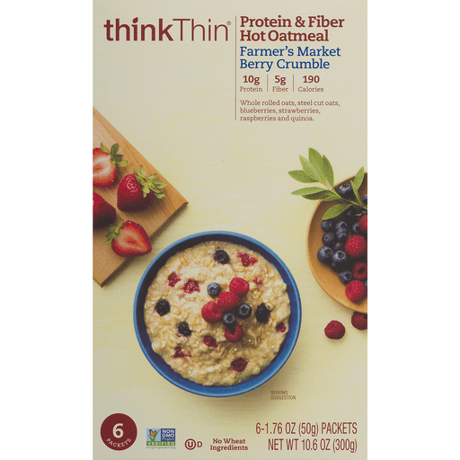 slide 4 of 9, thinkThin Protein & Fiber Hot Oatmeal Farmer's Market Berry Crumble,