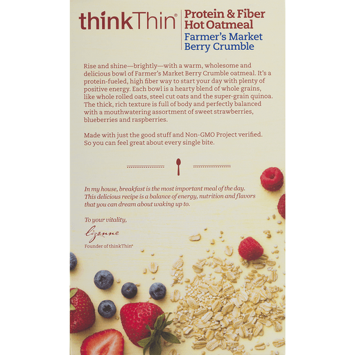 slide 7 of 9, thinkThin Protein & Fiber Hot Oatmeal Farmer's Market Berry Crumble,