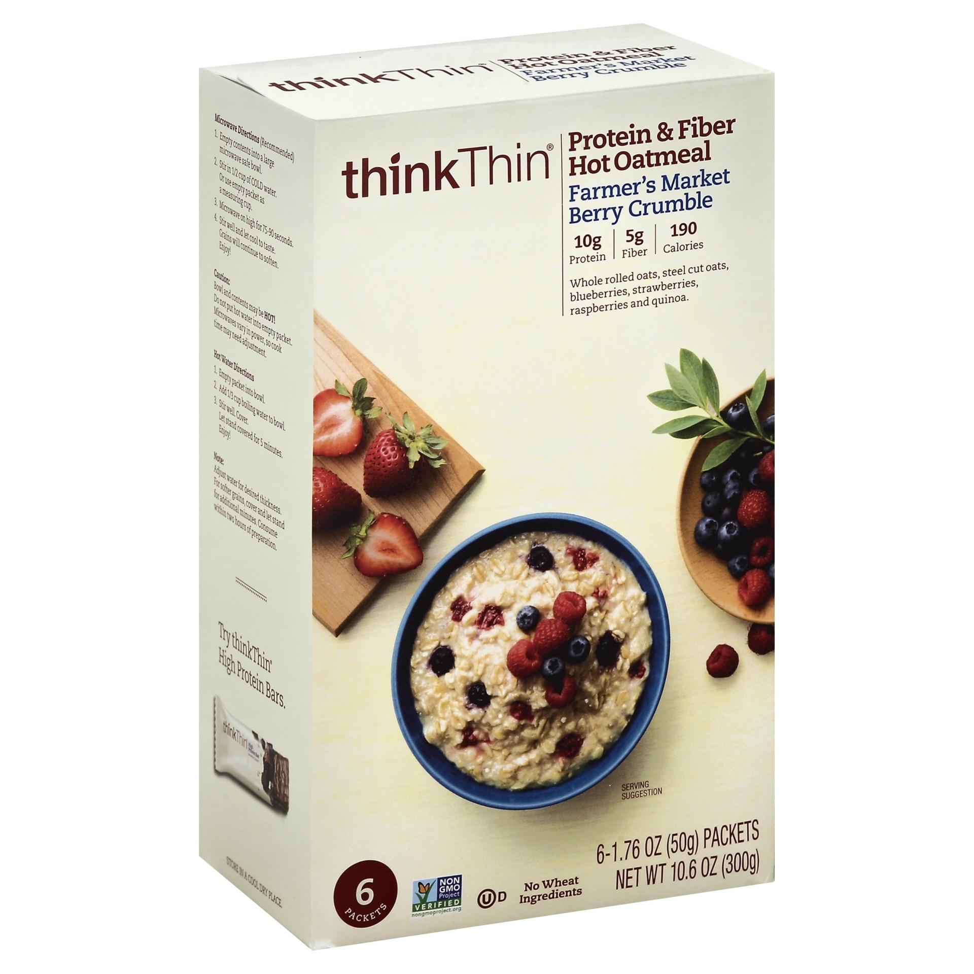 slide 1 of 9, thinkThin Protein & Fiber Hot Oatmeal Farmer's Market Berry Crumble,