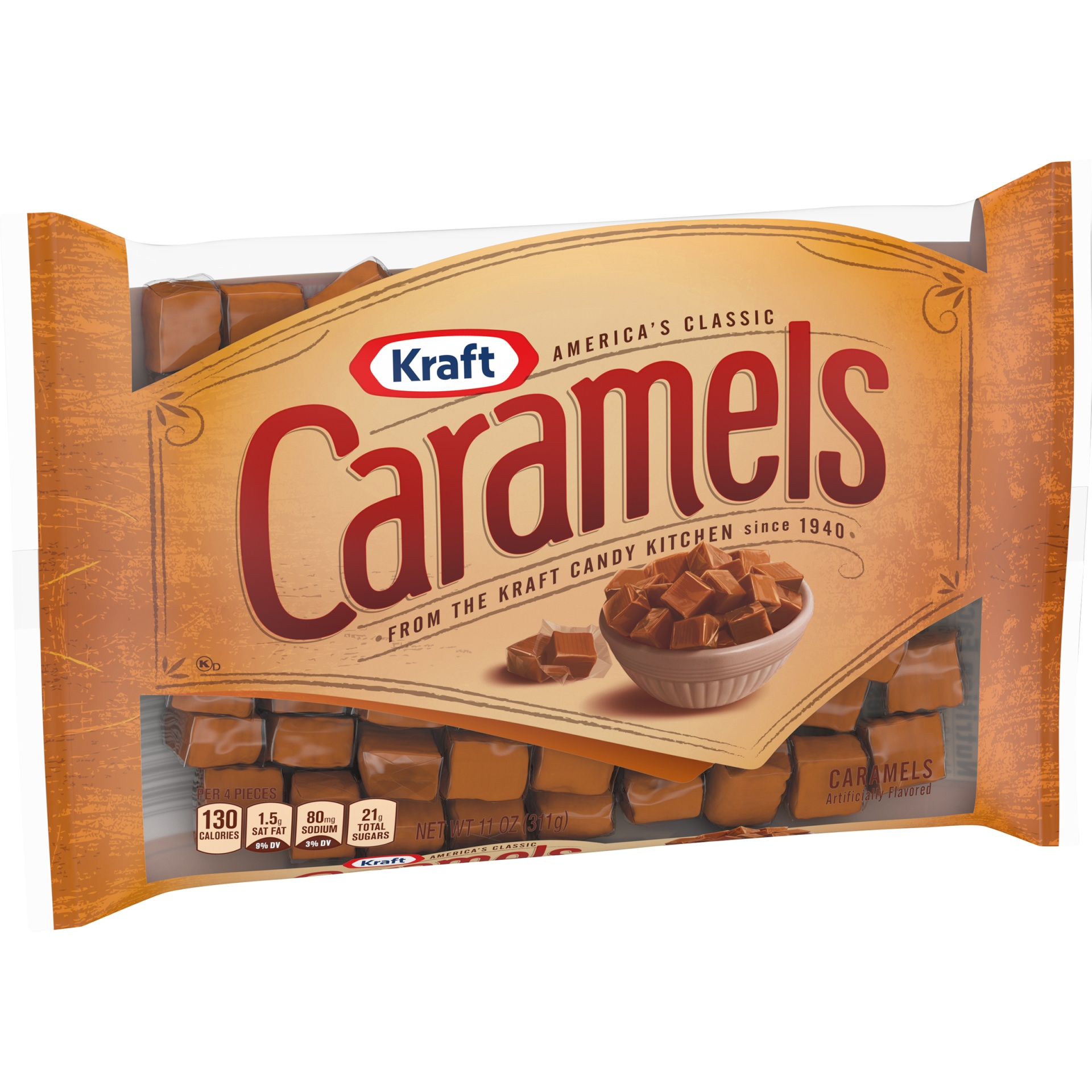 slide 5 of 9, Kraft Individually Wrapped Caramels Candy,