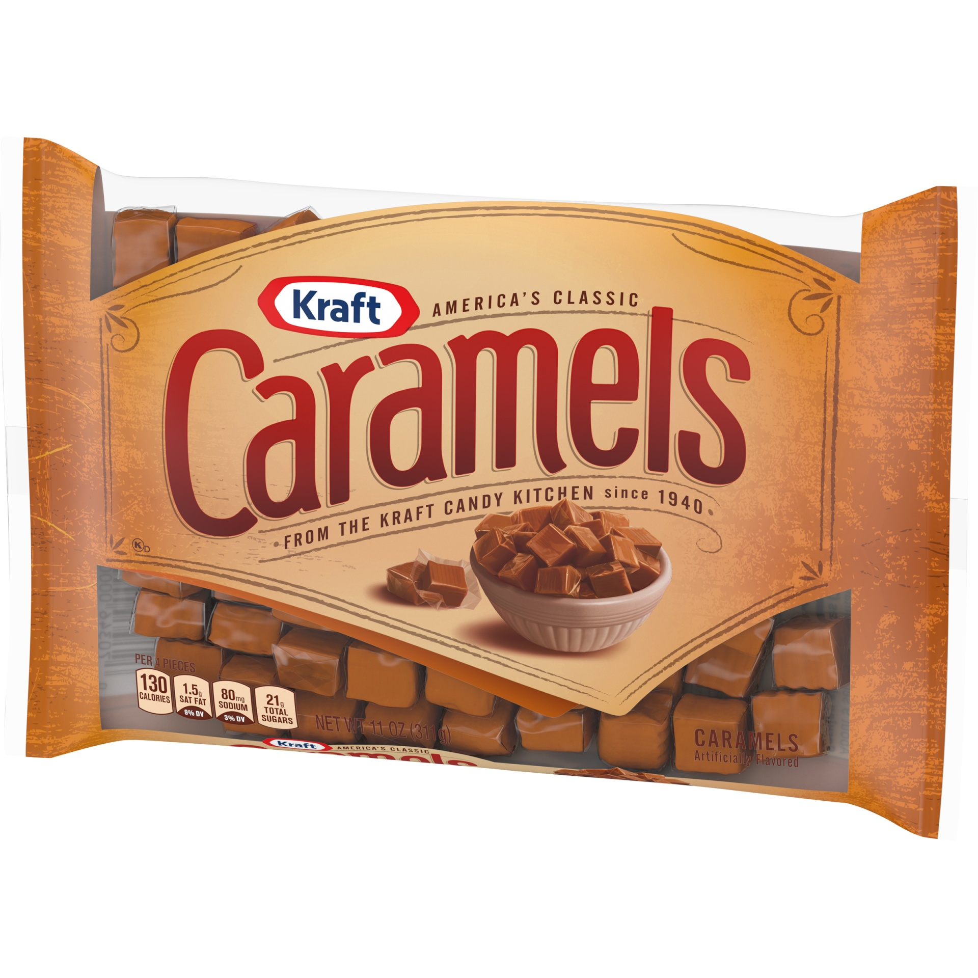 slide 6 of 9, Kraft Individually Wrapped Caramels Candy,