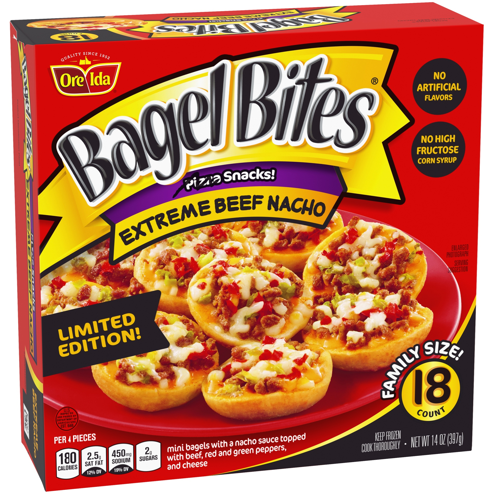 slide 2 of 6, Bagel Bites Frozen Pizza & Appetizers Extreme Beef Nacho,