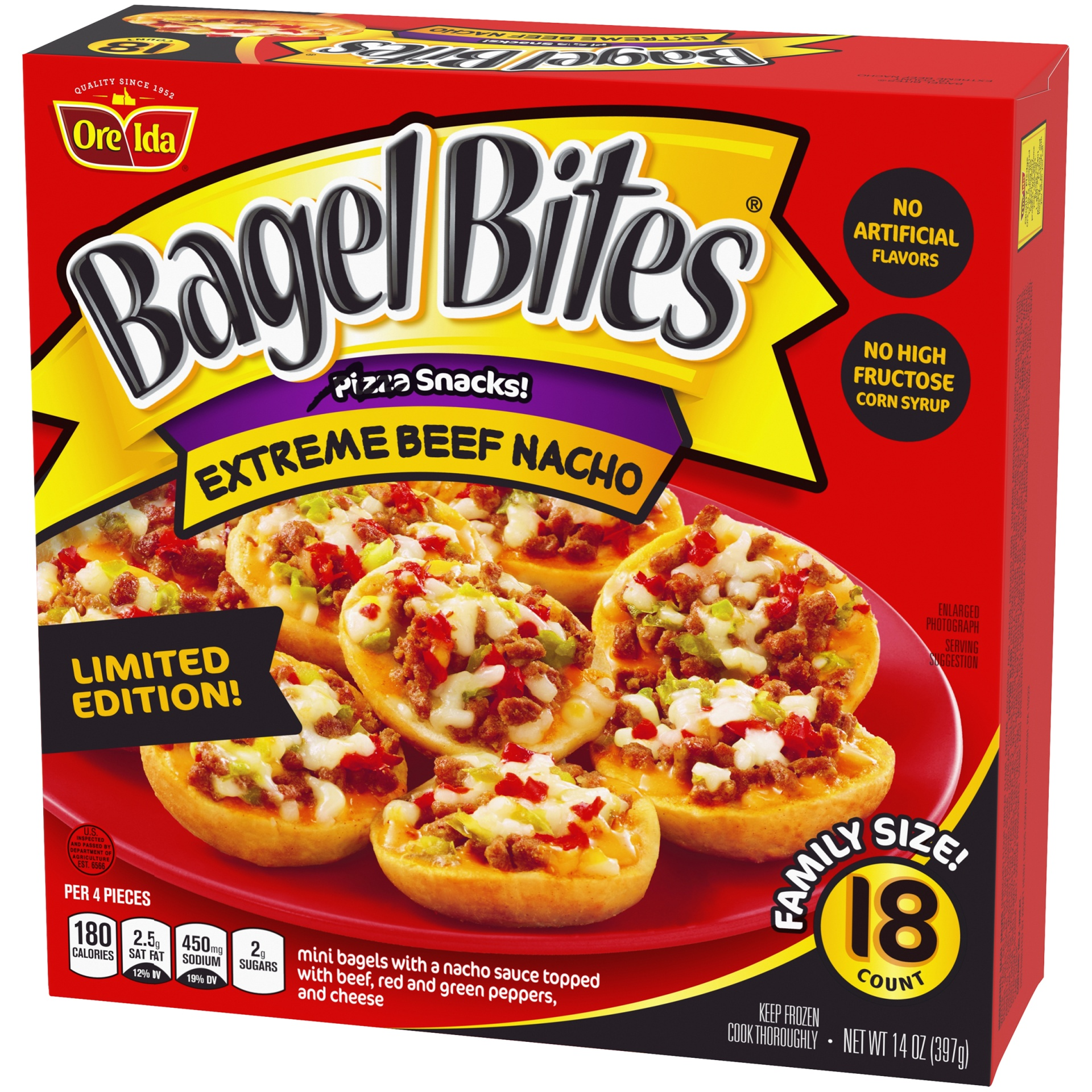 slide 3 of 6, Bagel Bites Frozen Pizza & Appetizers Extreme Beef Nacho,