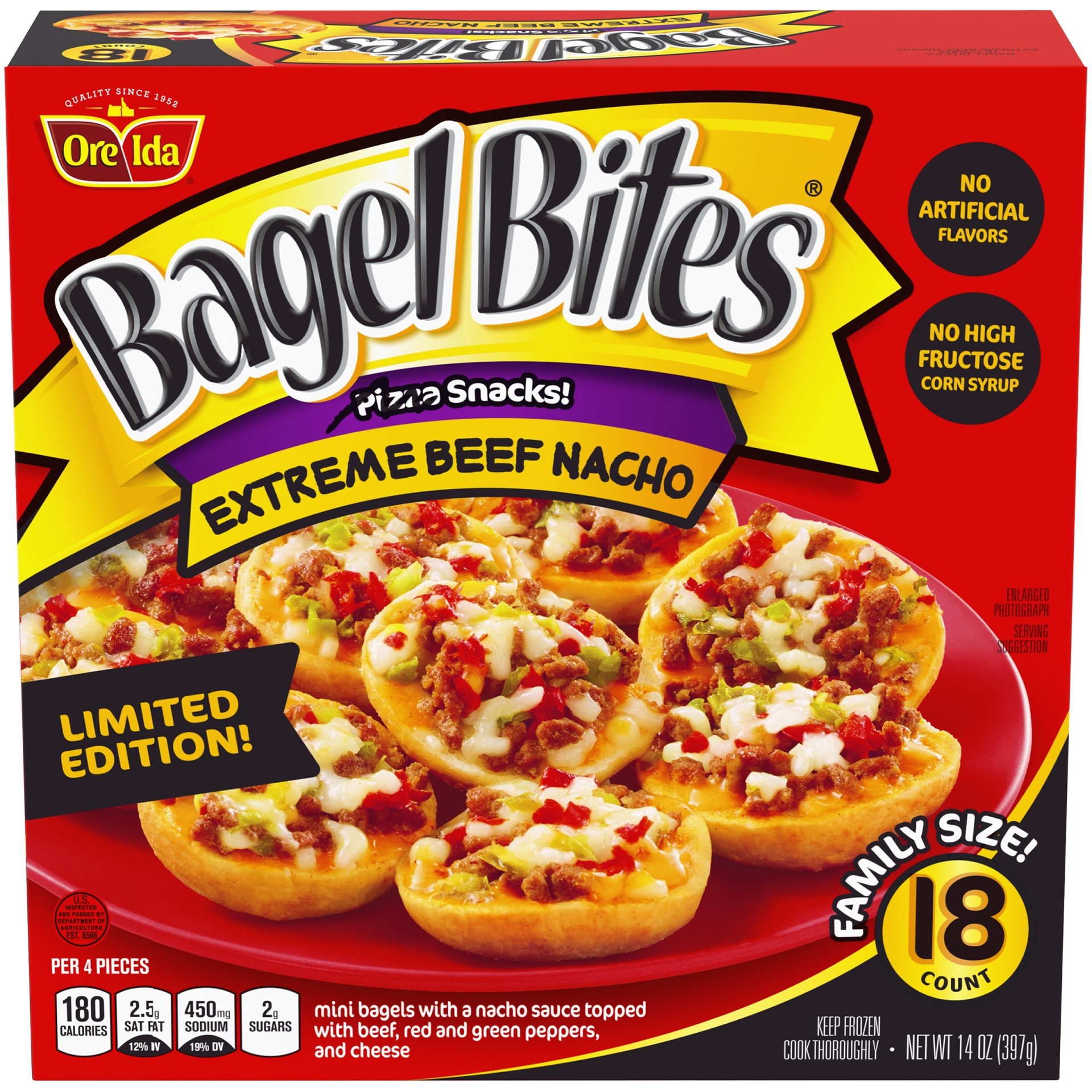 slide 1 of 6, Bagel Bites Frozen Pizza & Appetizers Extreme Beef Nacho,