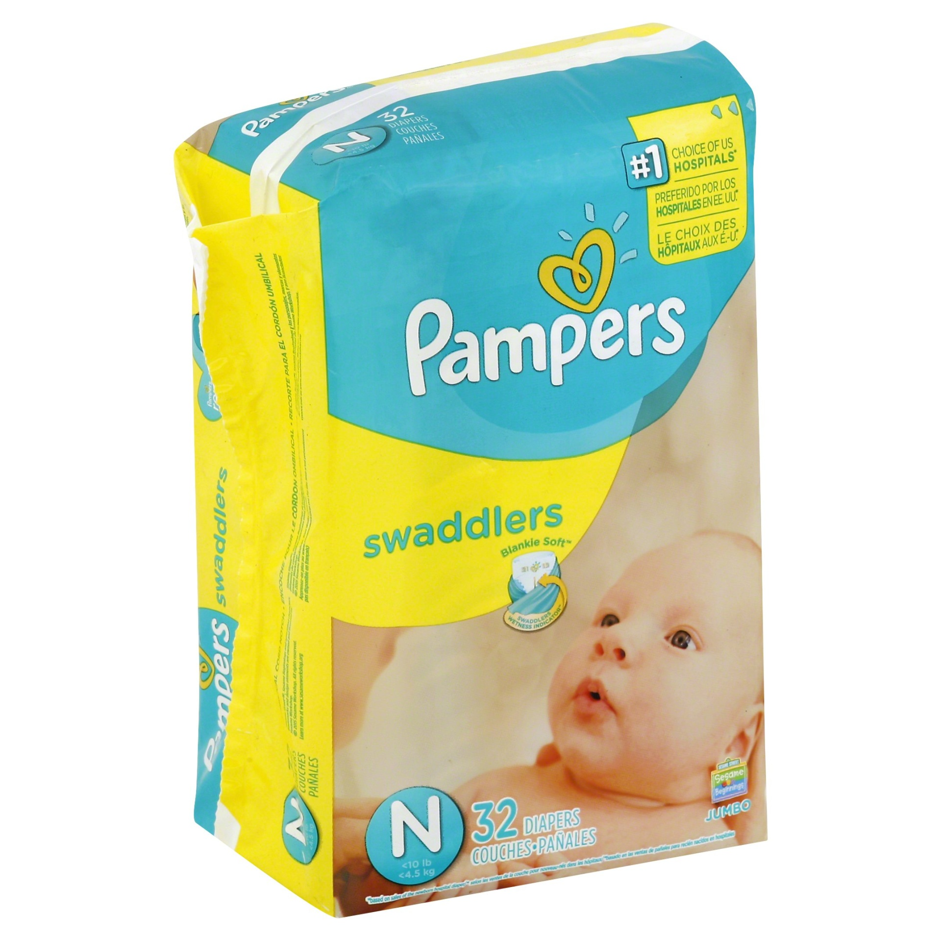 slide 1 of 1, Pampers Swaddlers Diapers Jumbo Pack Size Newborn,