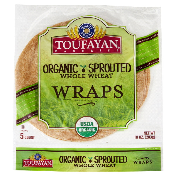 slide 1 of 1, Toufayan Organic Sprouted Whole Wheat Wraps,