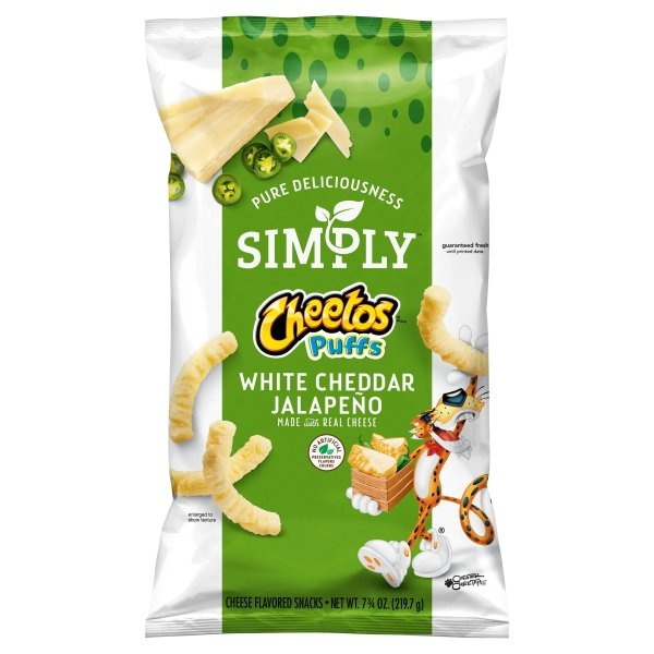slide 1 of 4, Cheetos Simply White Cheddar Jalapeno Cheese Flavored Snack,