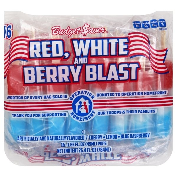 slide 1 of 1, Budget Saver Red White and Berry Blast Ice Pops,