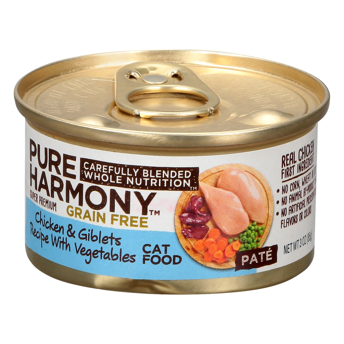 slide 3 of 9, Pure Harmony Super Premium Grain Free Pate Cat Food Chicken Giblets with Vegetables,