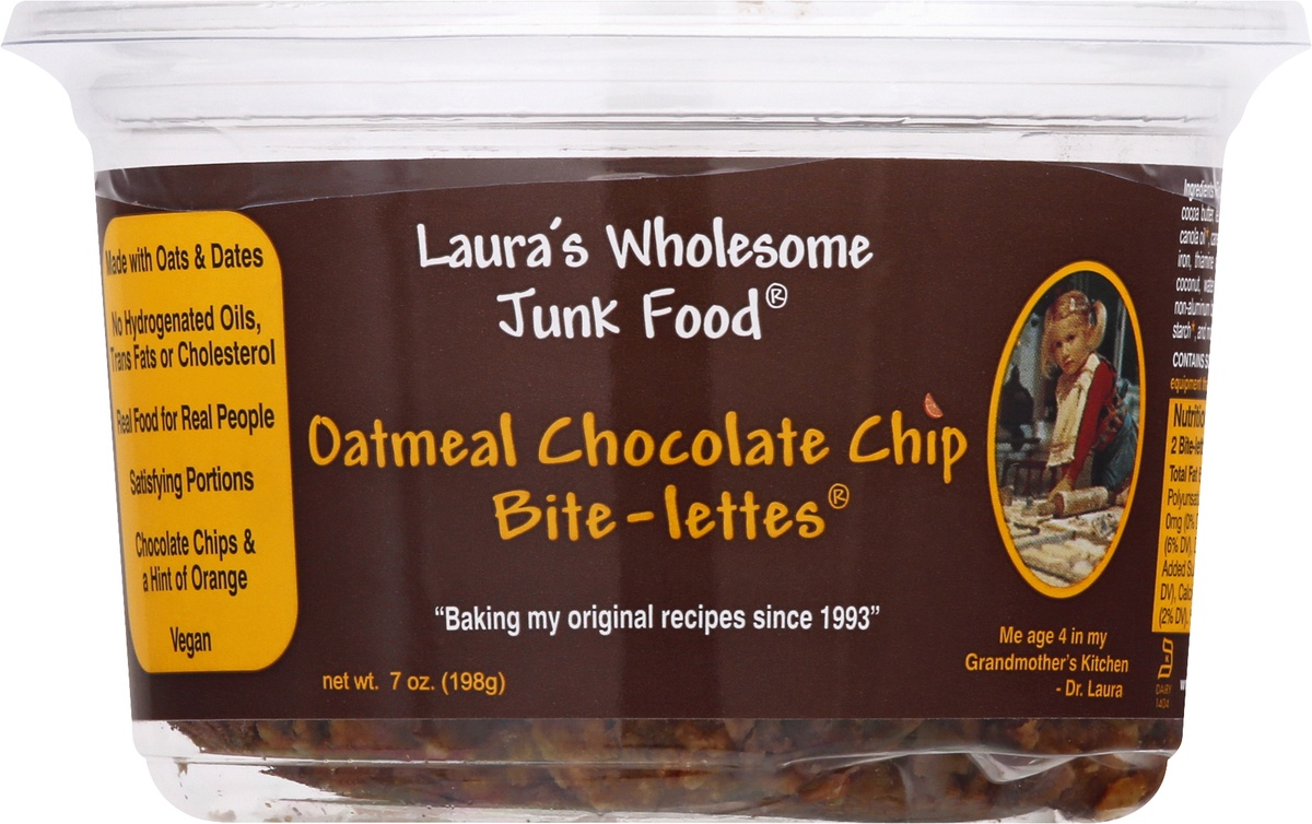 slide 9 of 10, Lauras Wholesome Junk Food Oatmeal Chocolate Chip Bitelettes,