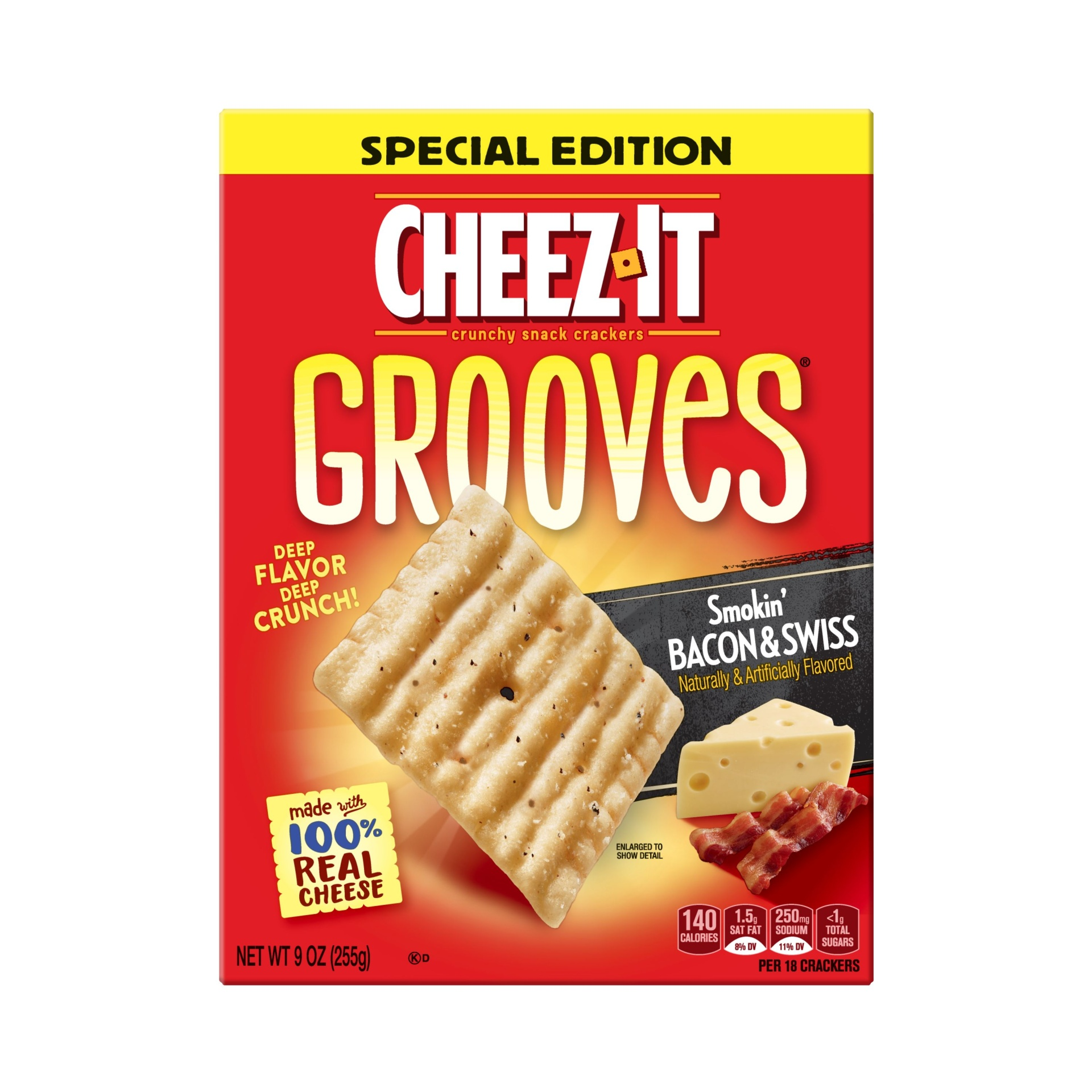 slide 2 of 4, Cheez-It Crunchy Cheese Snack Crackers Smokin' Bacon and Swiss Special Edition,
