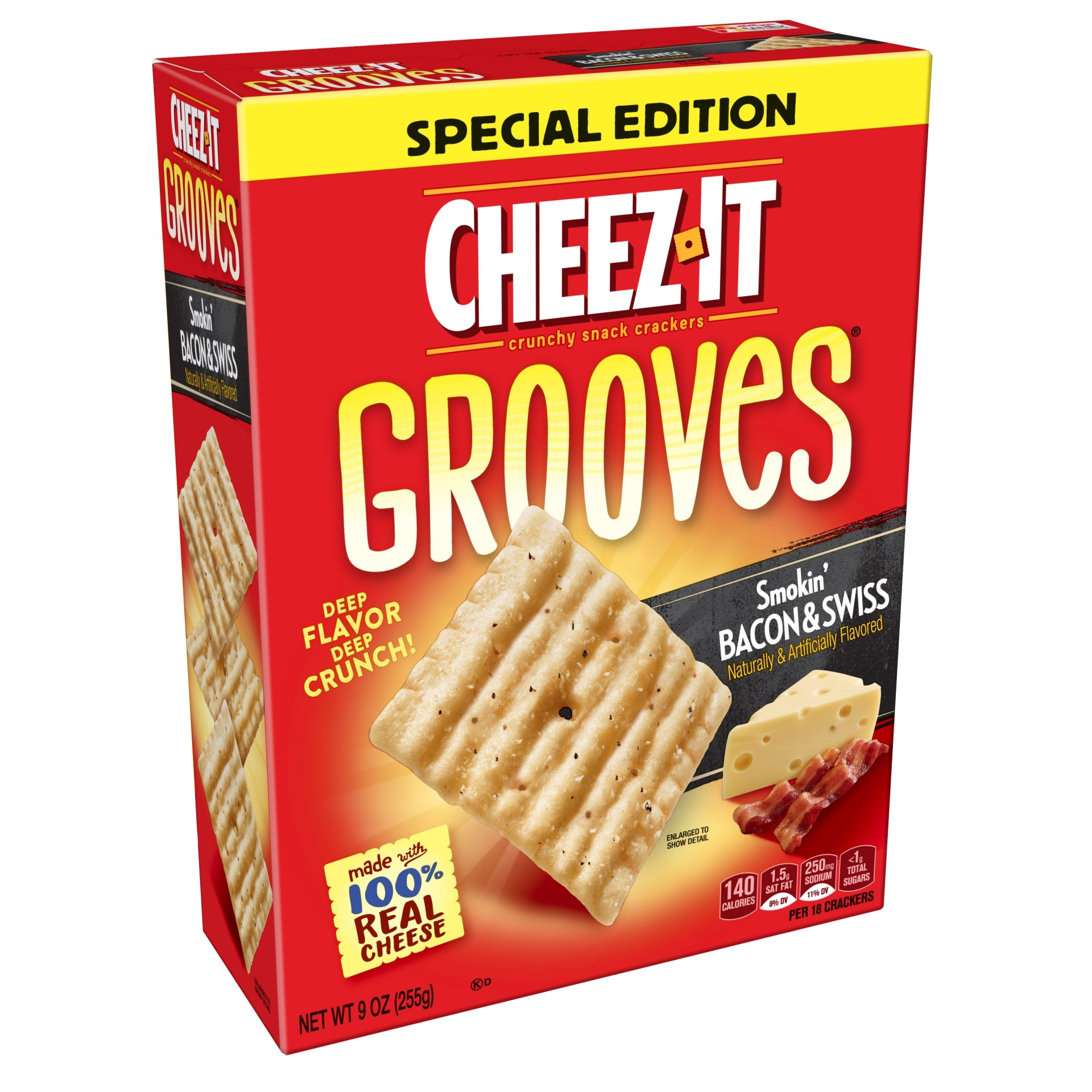 slide 1 of 4, Cheez-It Crunchy Cheese Snack Crackers Smokin' Bacon and Swiss Special Edition,