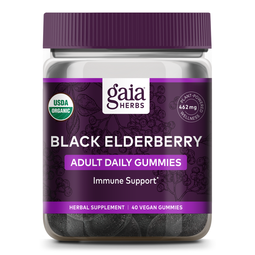 slide 1 of 2, Gaia Herbs Black Elderberry Adult Daily Immune Support Gummies,